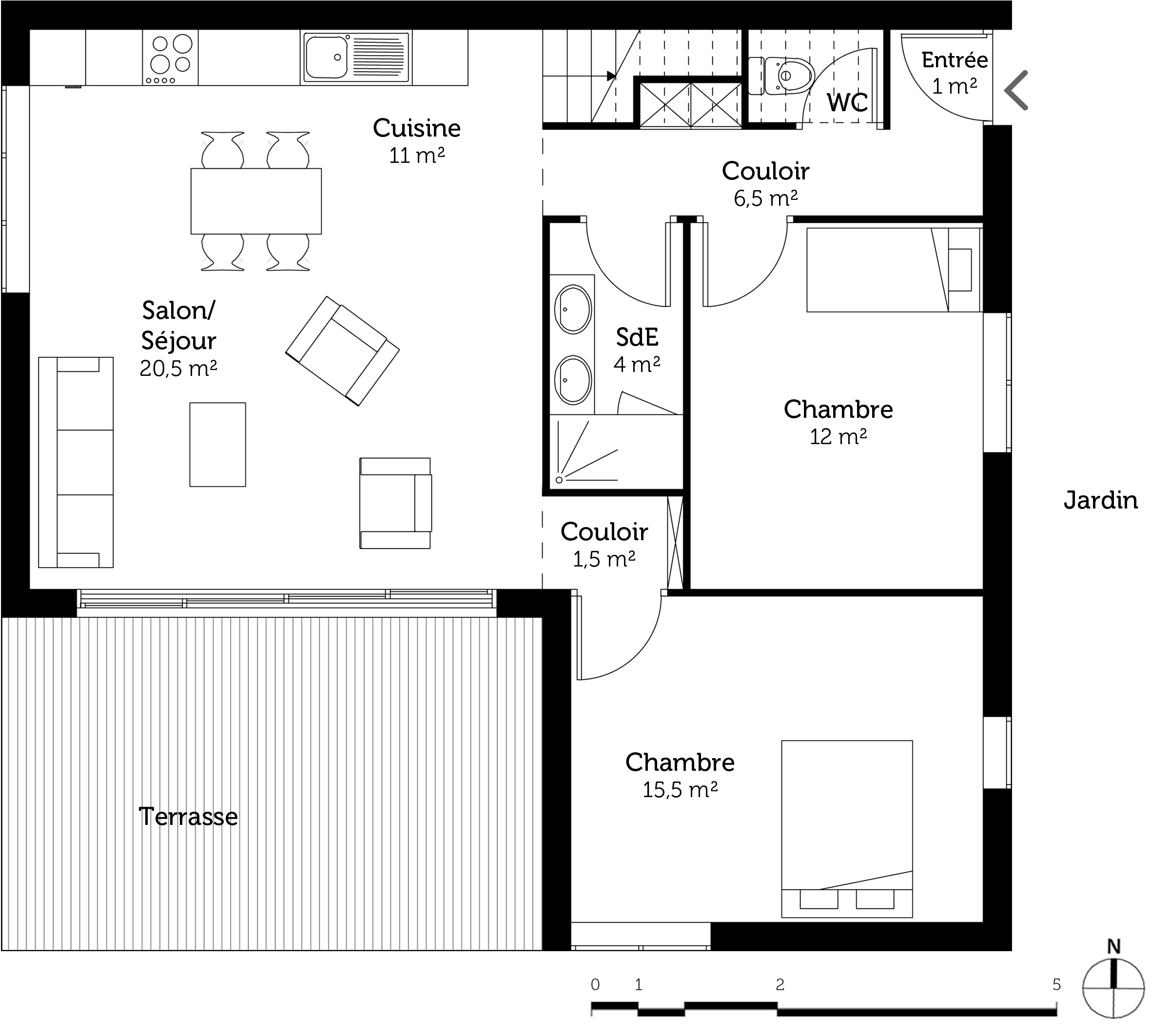 Plan maison contemporaine 100 m ooreka for Plan maison contemporaine 3 chambres