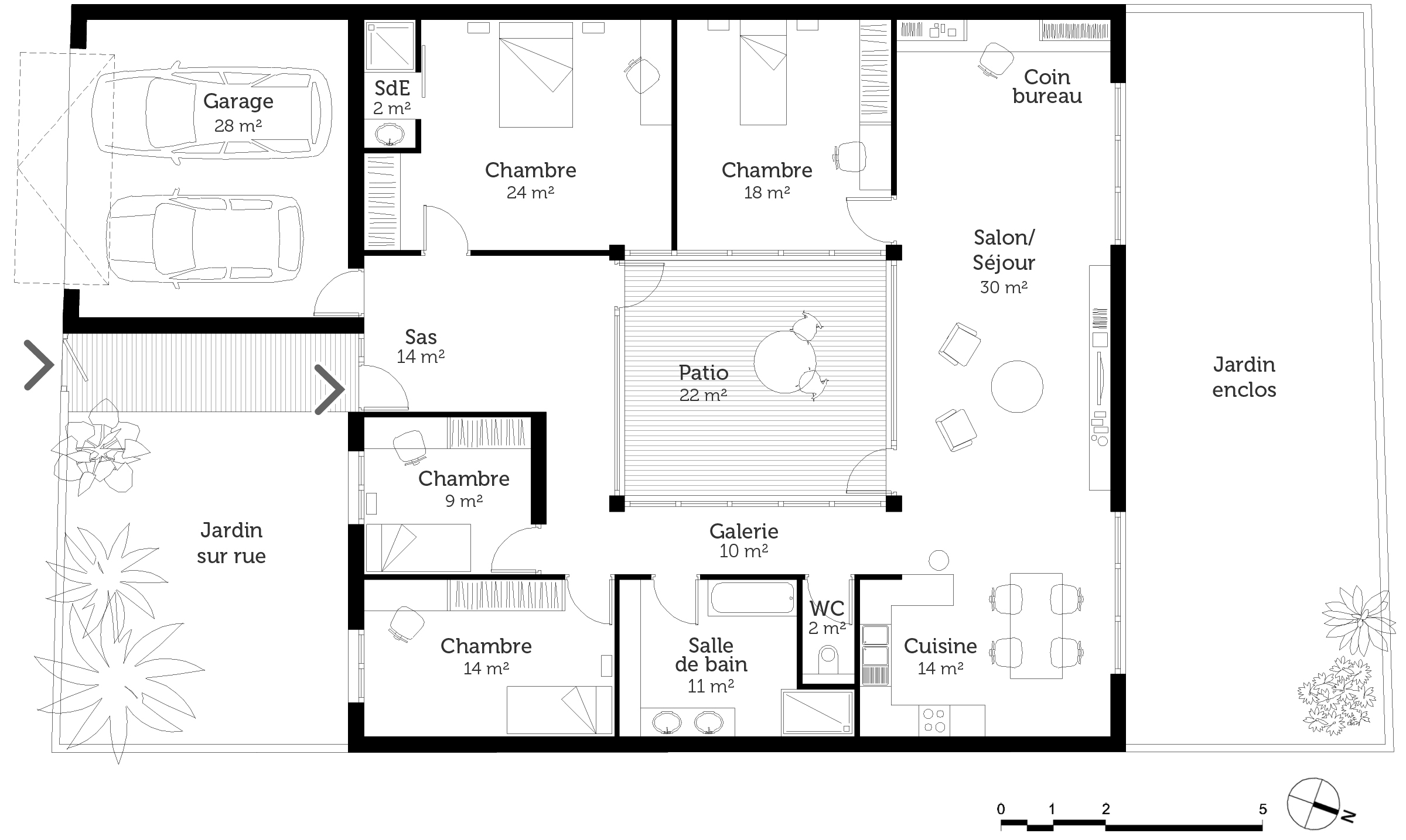 Plan maison plain pied 4 chambres en u for Plan maison contemporaine plain pied