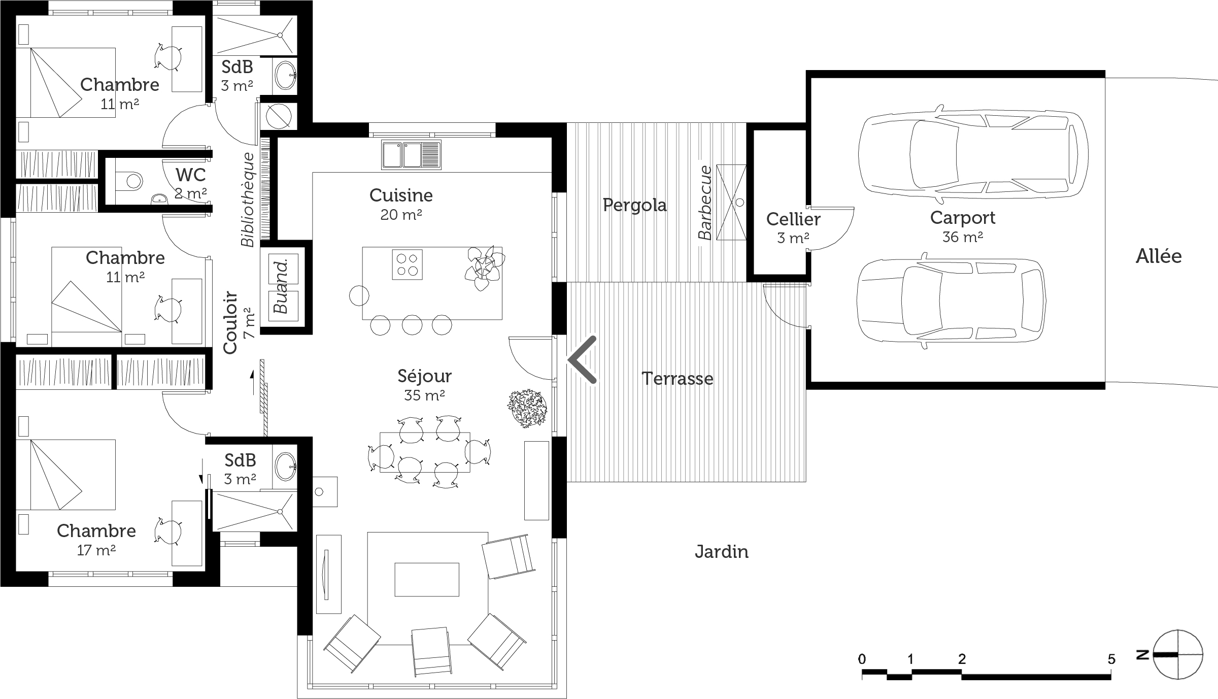 Plan maison moderne de plain pied 3 chambres ooreka for Maison contemporaine plain pied plan