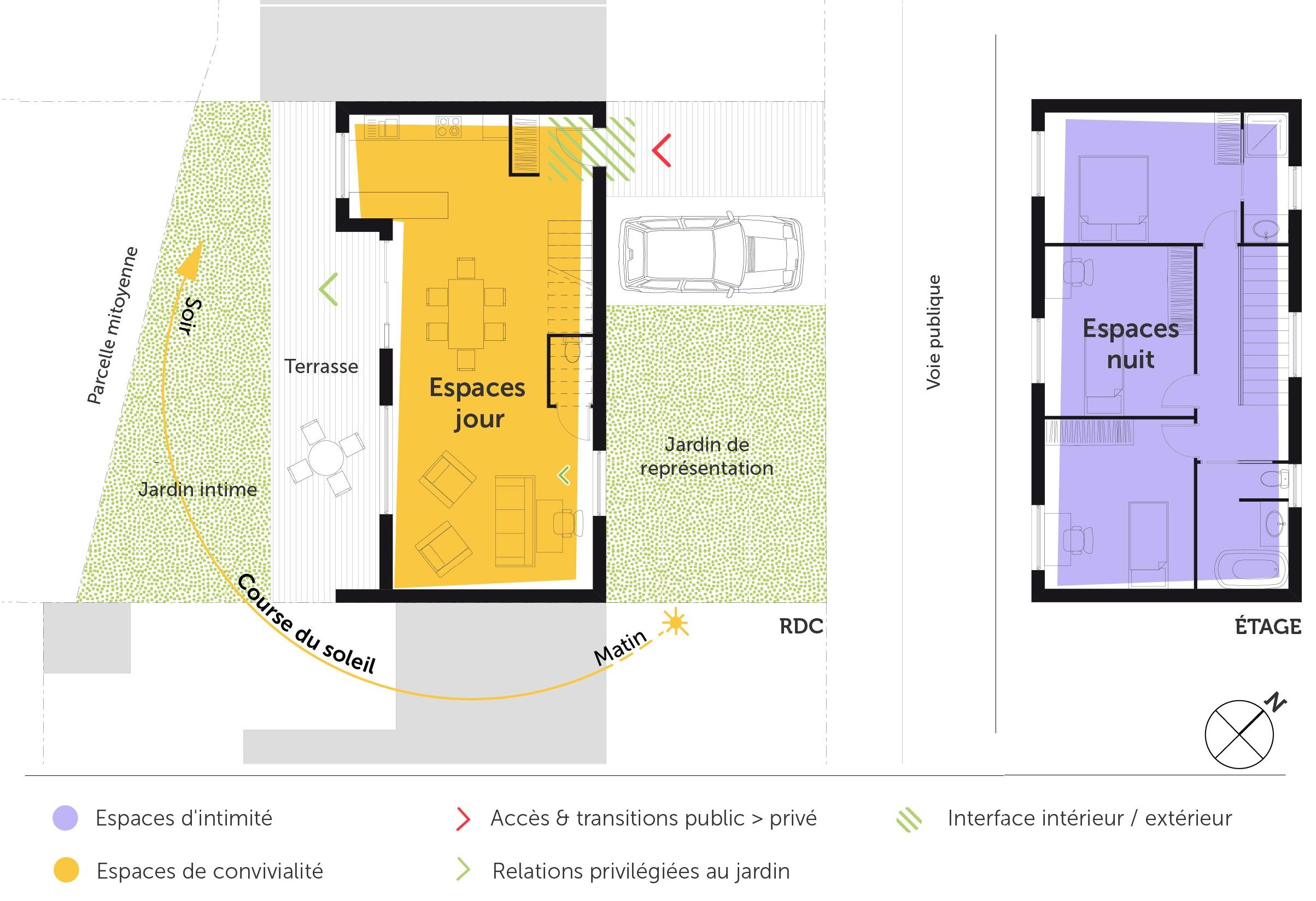 Plan maison tage 110 m avec 3 chambres ooreka for Plan interieur maison en l