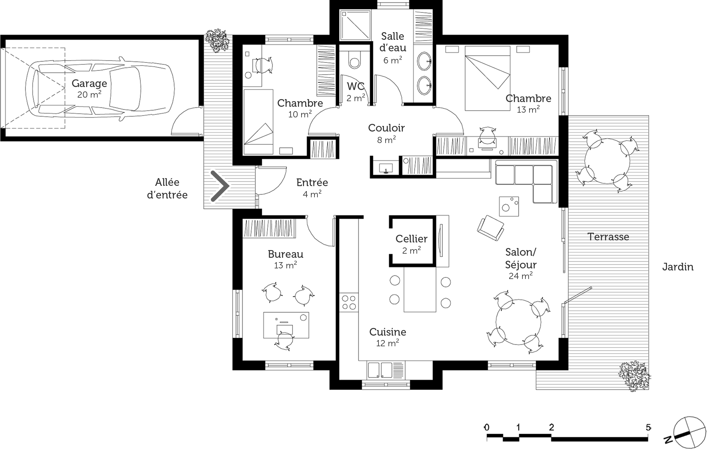 plan maison plain pied 3 pieces