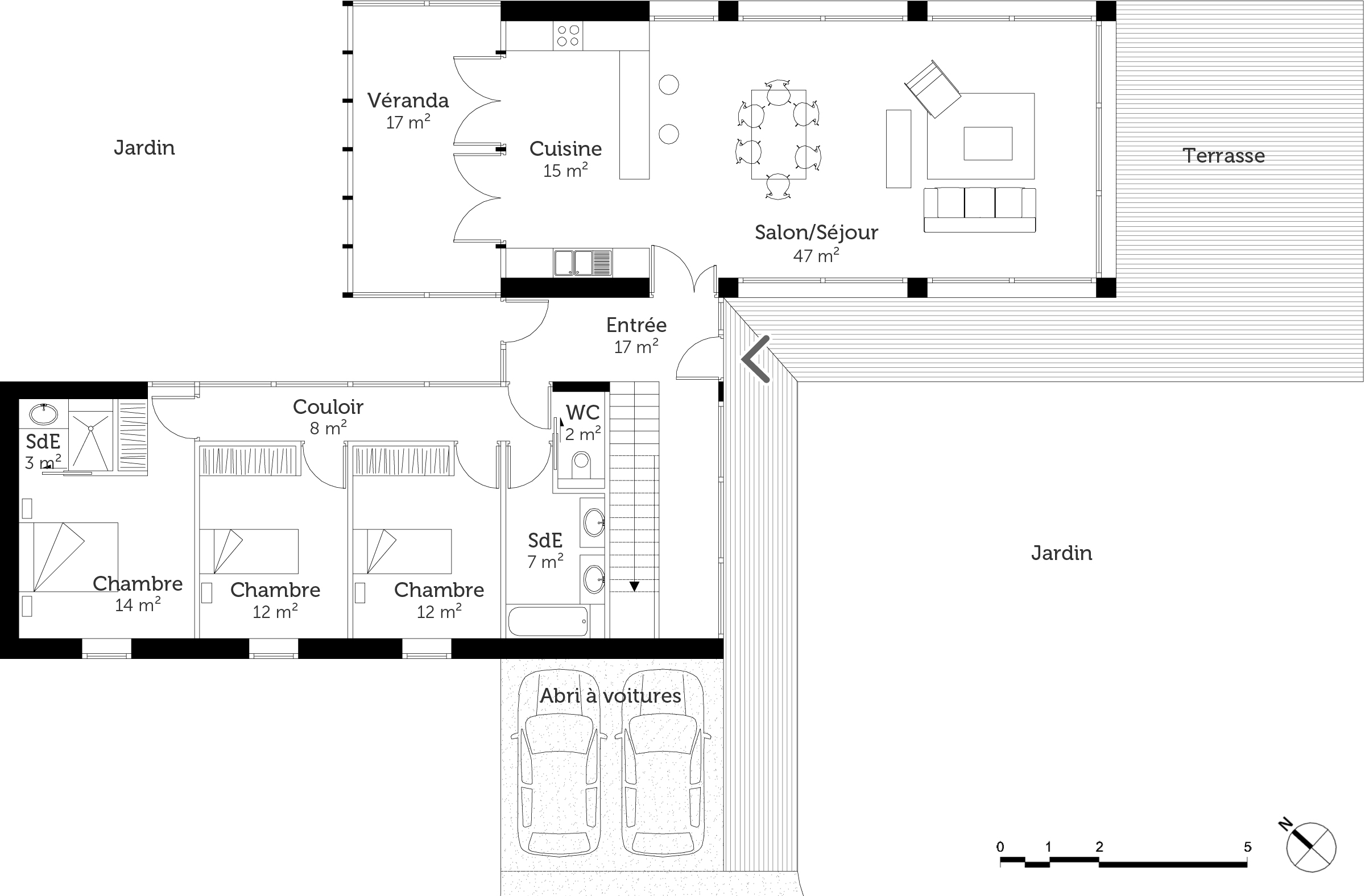 Plan maison d 39 architecte contemporaine ooreka for Plan maison architecte contemporaine