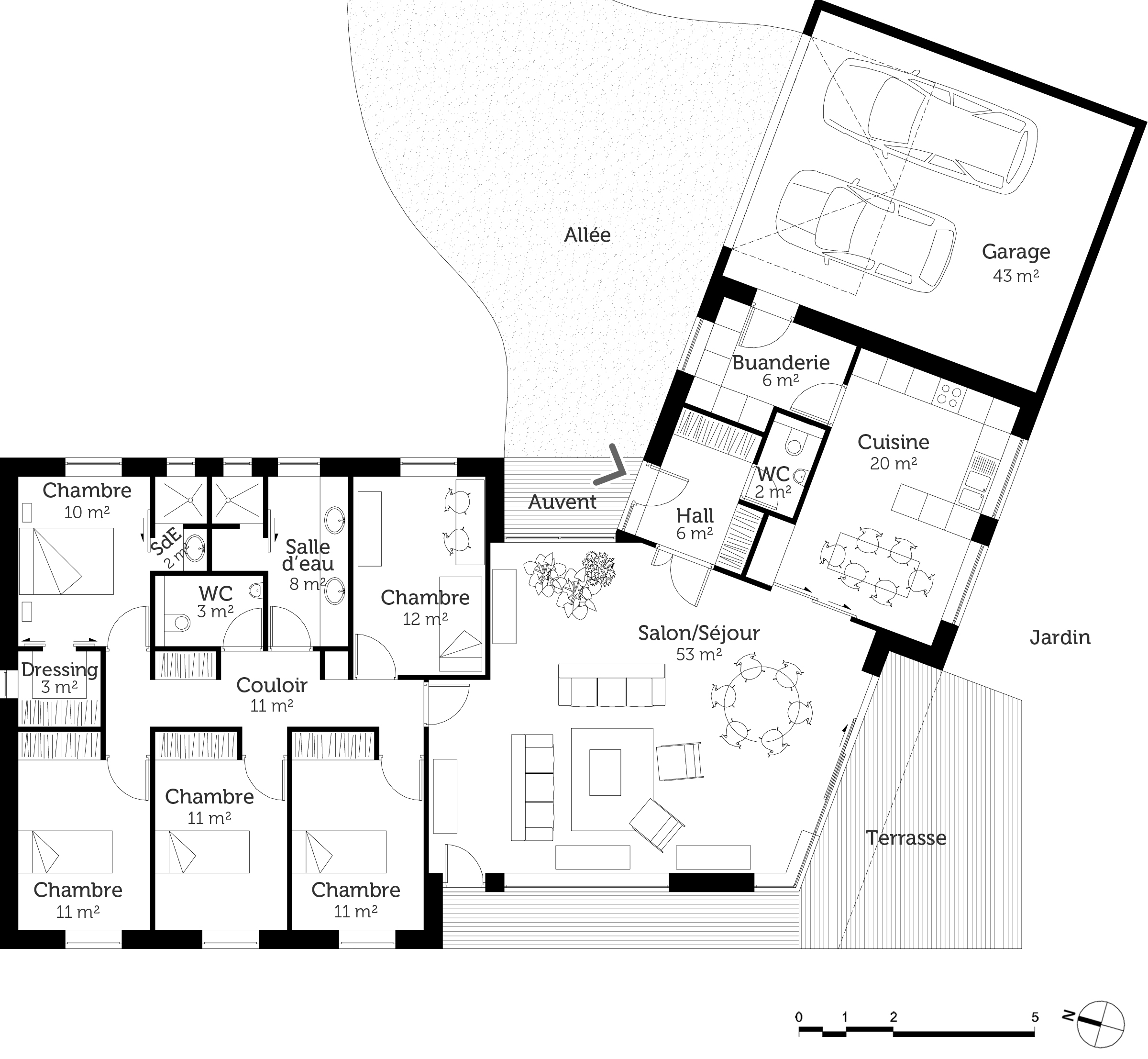 Plan maison plain pied en v ooreka for Exemple de plan maison plain pied