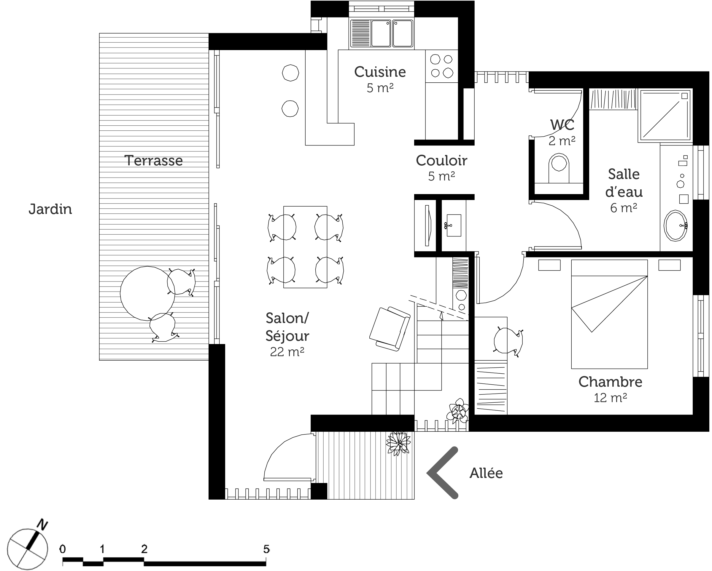 plan maison en l avec mezzanine