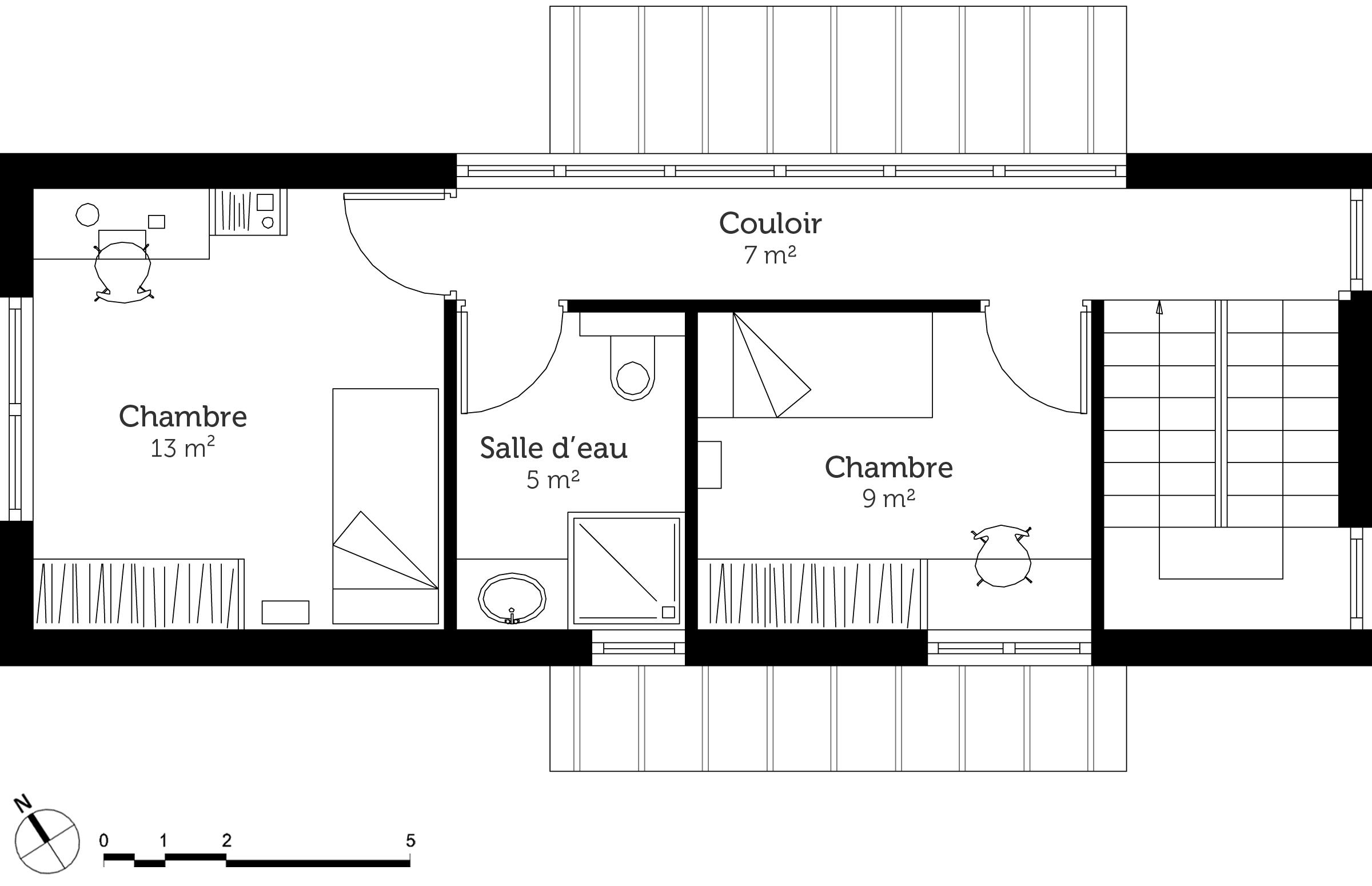 Plan maison 80 m avec 3 chambres ooreka for Plan petite maison m