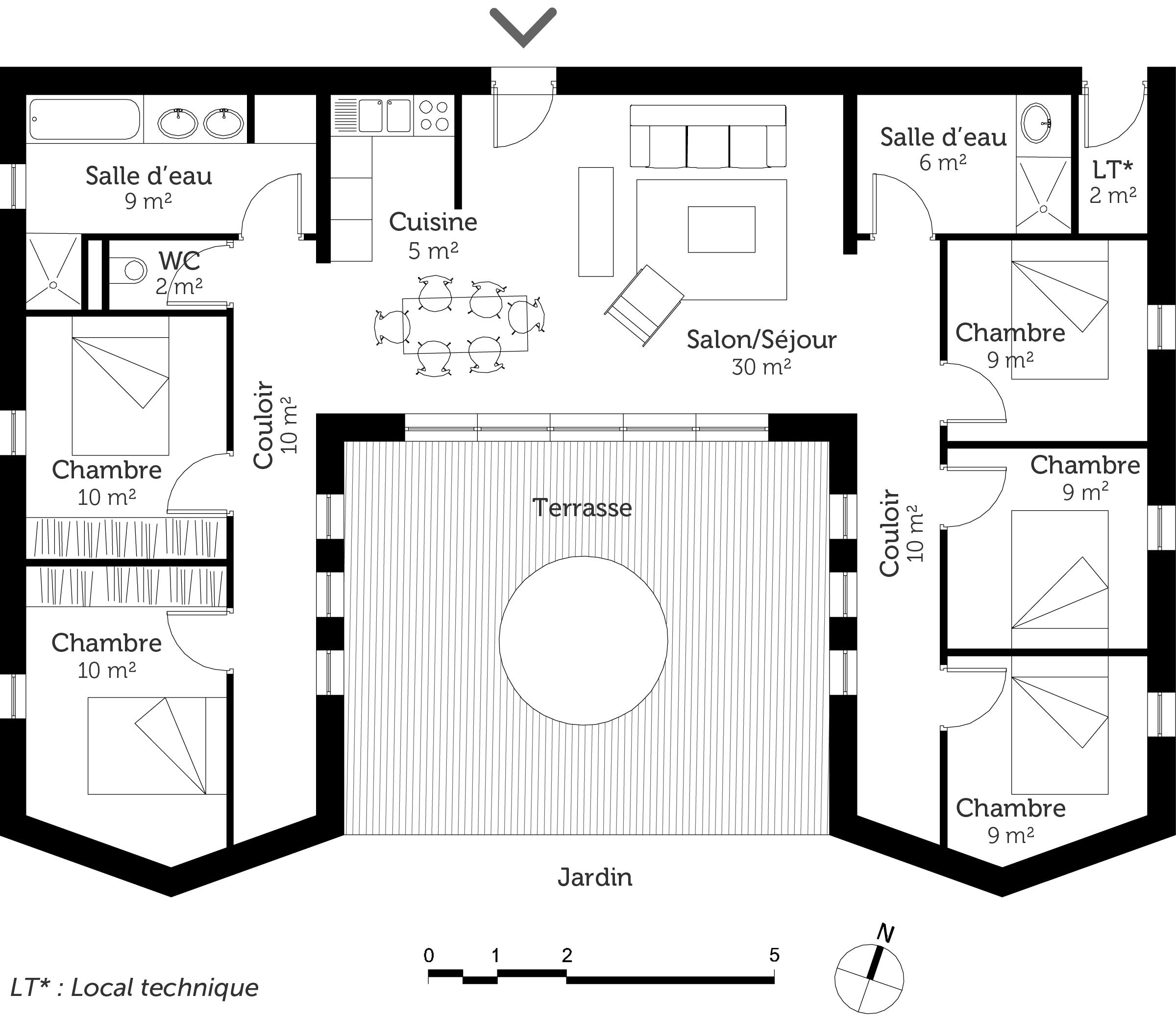 plan maison plain pied avec 5 chambres