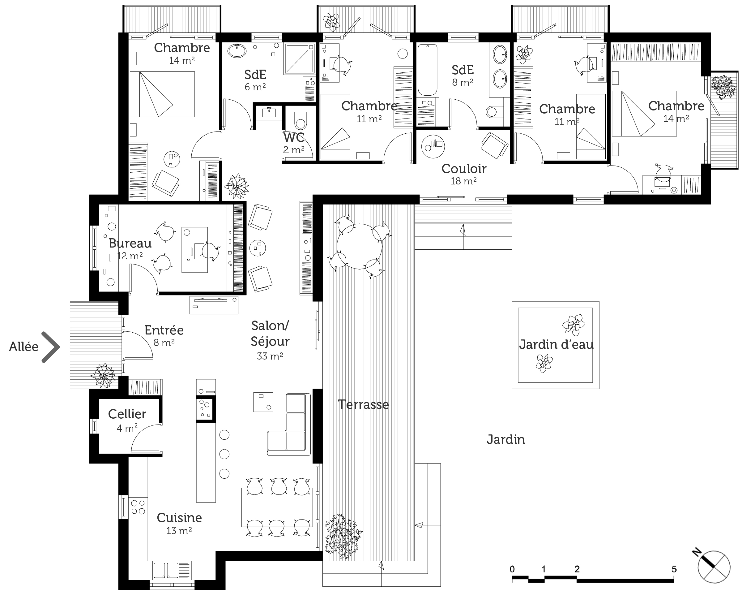 Plan maison contemporaine toit plat ooreka for Maison en u moderne