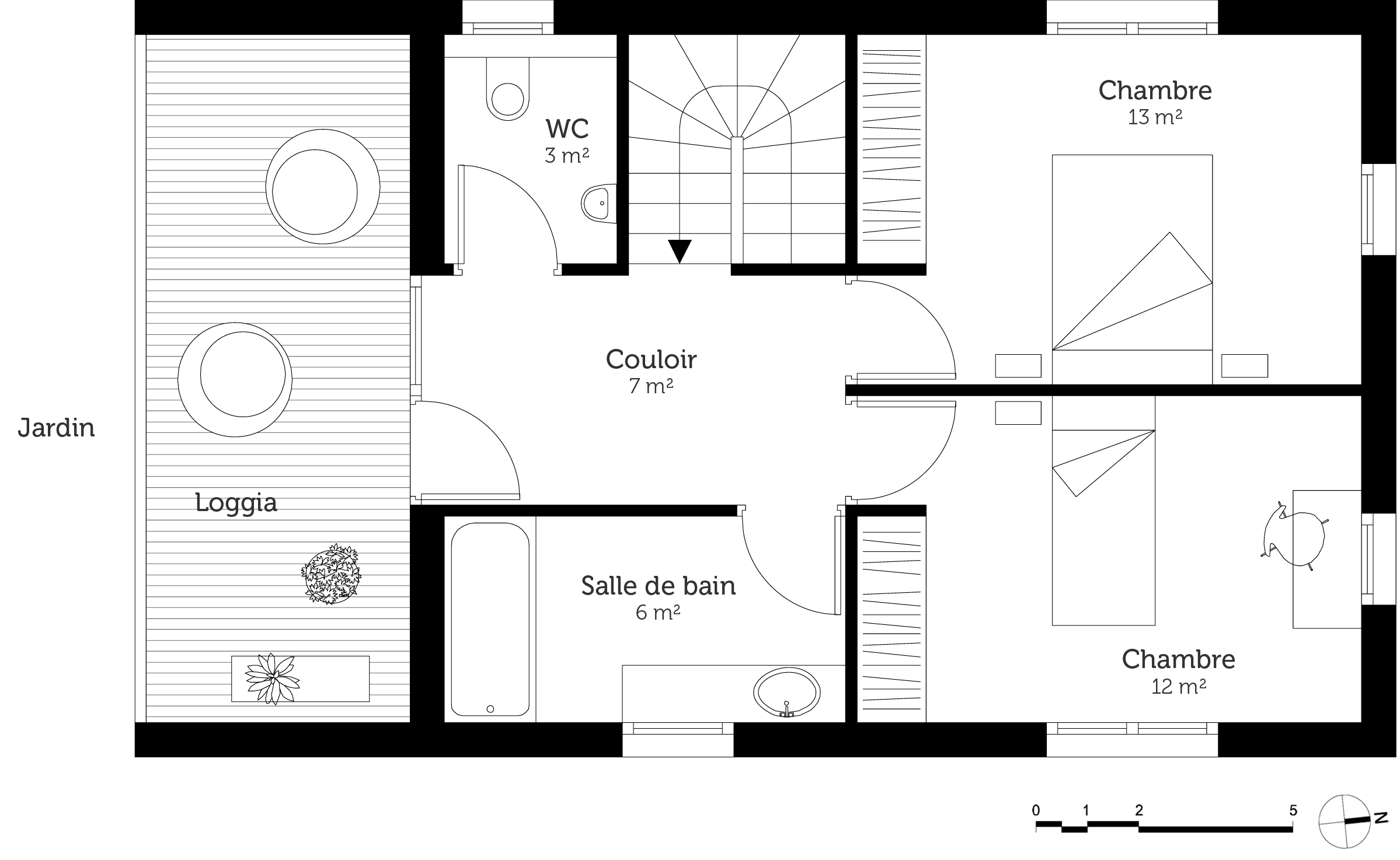 Plan maison tage 3 chambres ooreka for Plan maison 3 faces