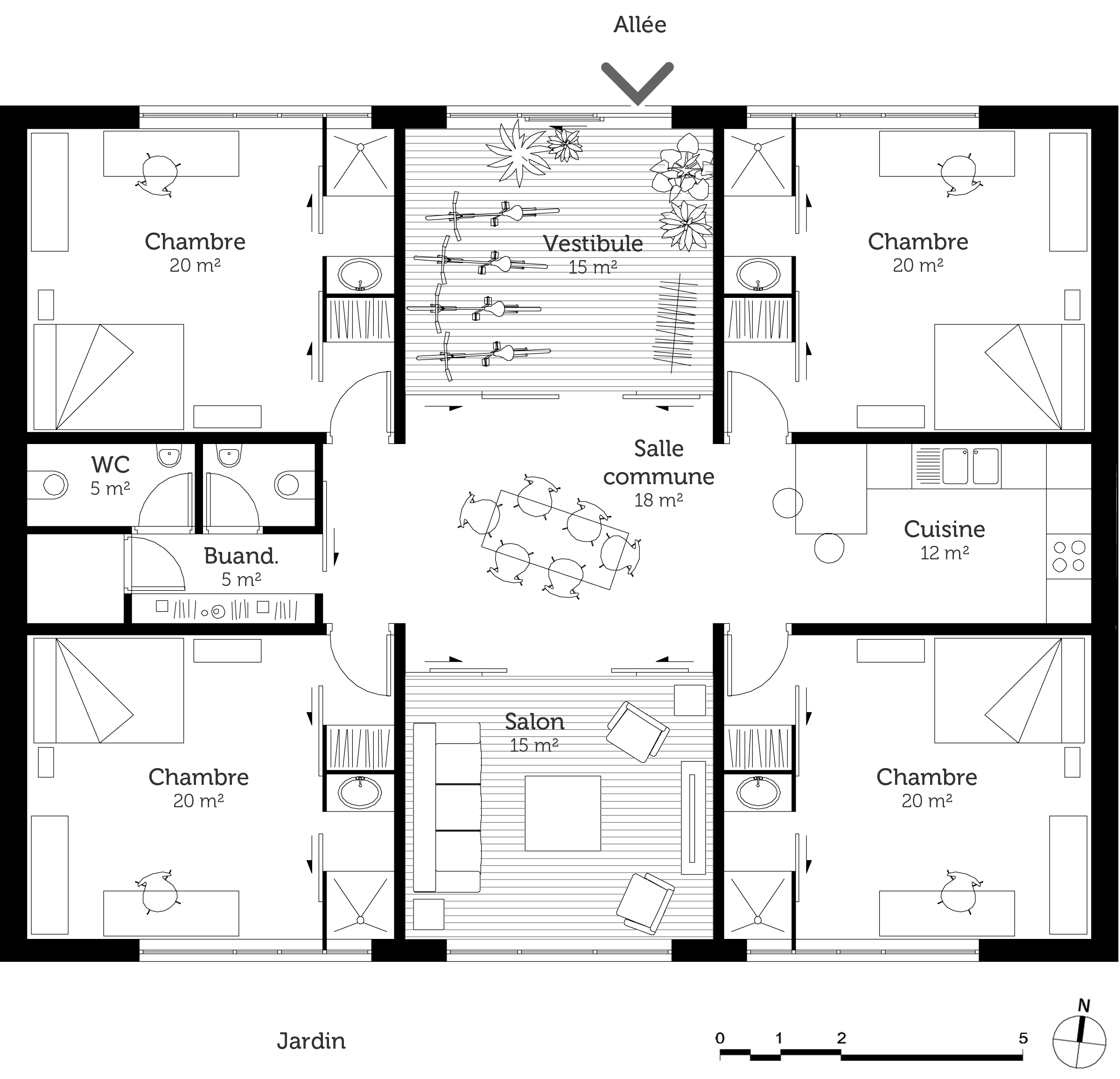 Plan maison cubique 150 m ooreka for Plan maison cube etage