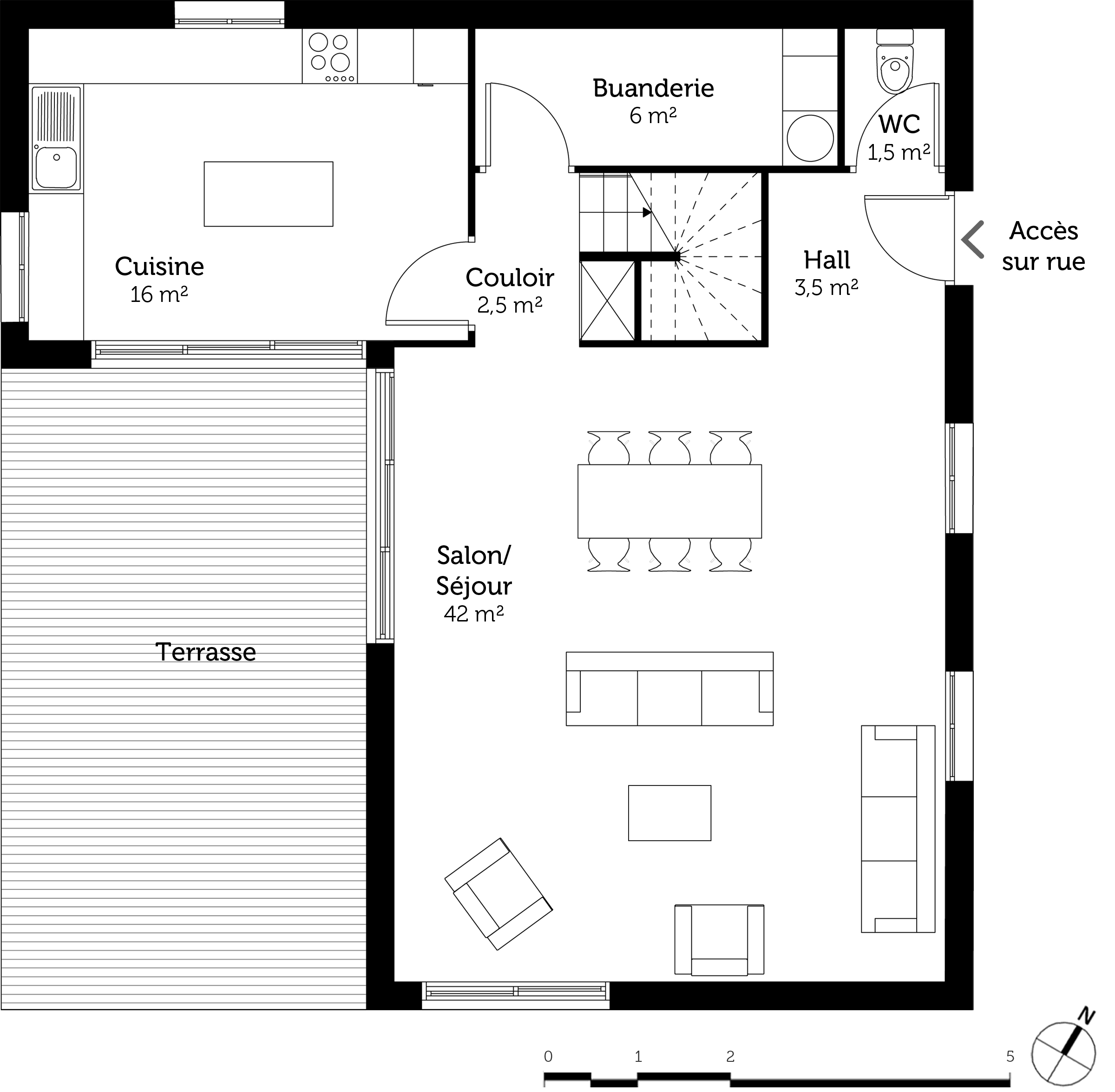 Plan maison 3 chambres et dressing ooreka for Plan amenagement salon