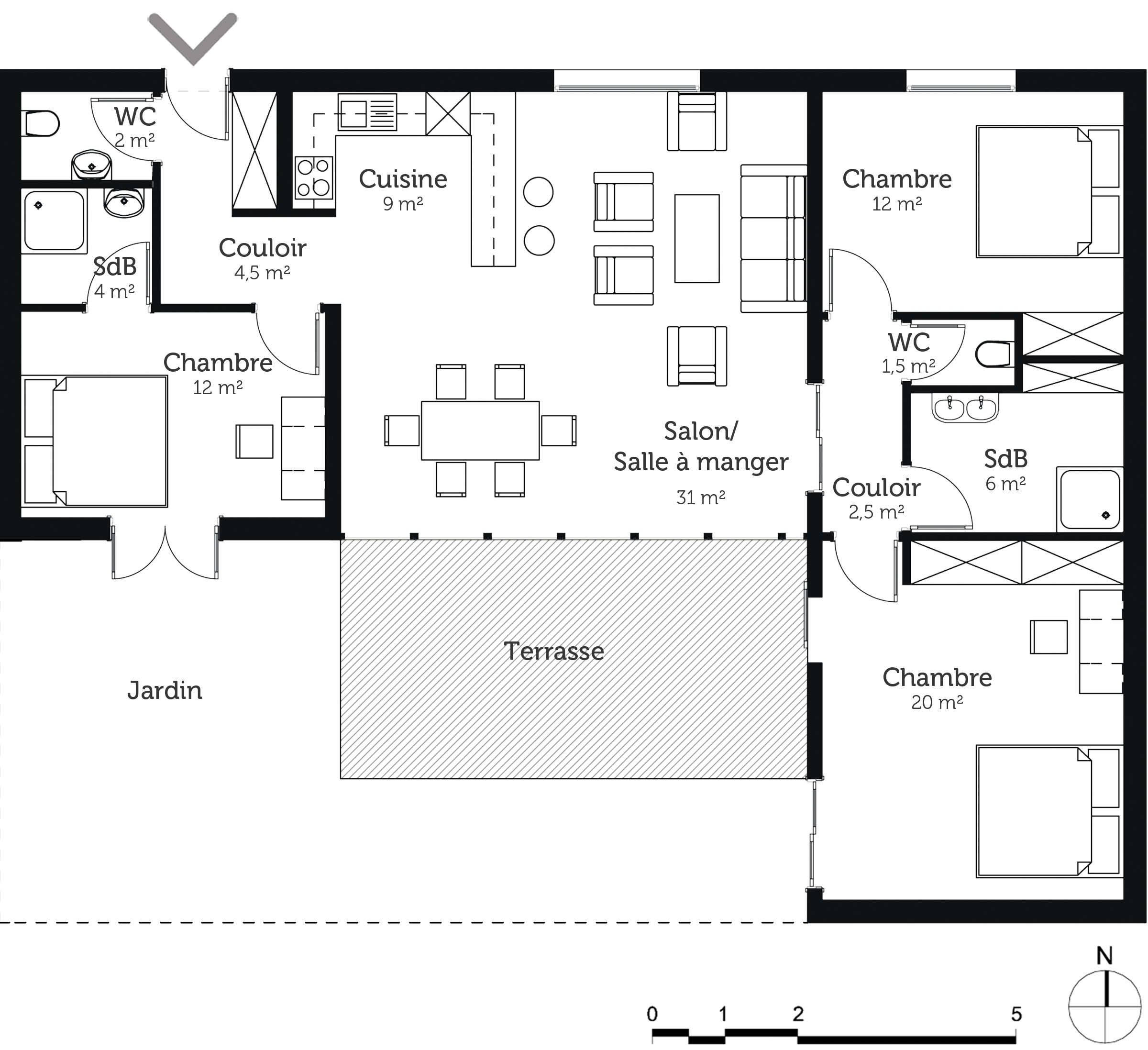 Plan maison plain pied 3 chambres en u for Maison contemporaine plain pied plan