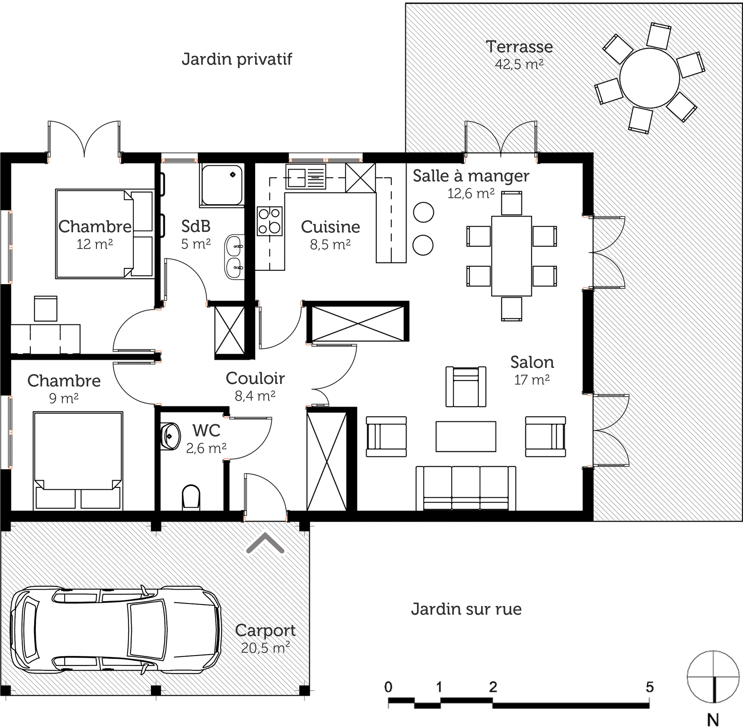 Plan maison de plain pied 80 m ooreka for Plan de maison en plain pied