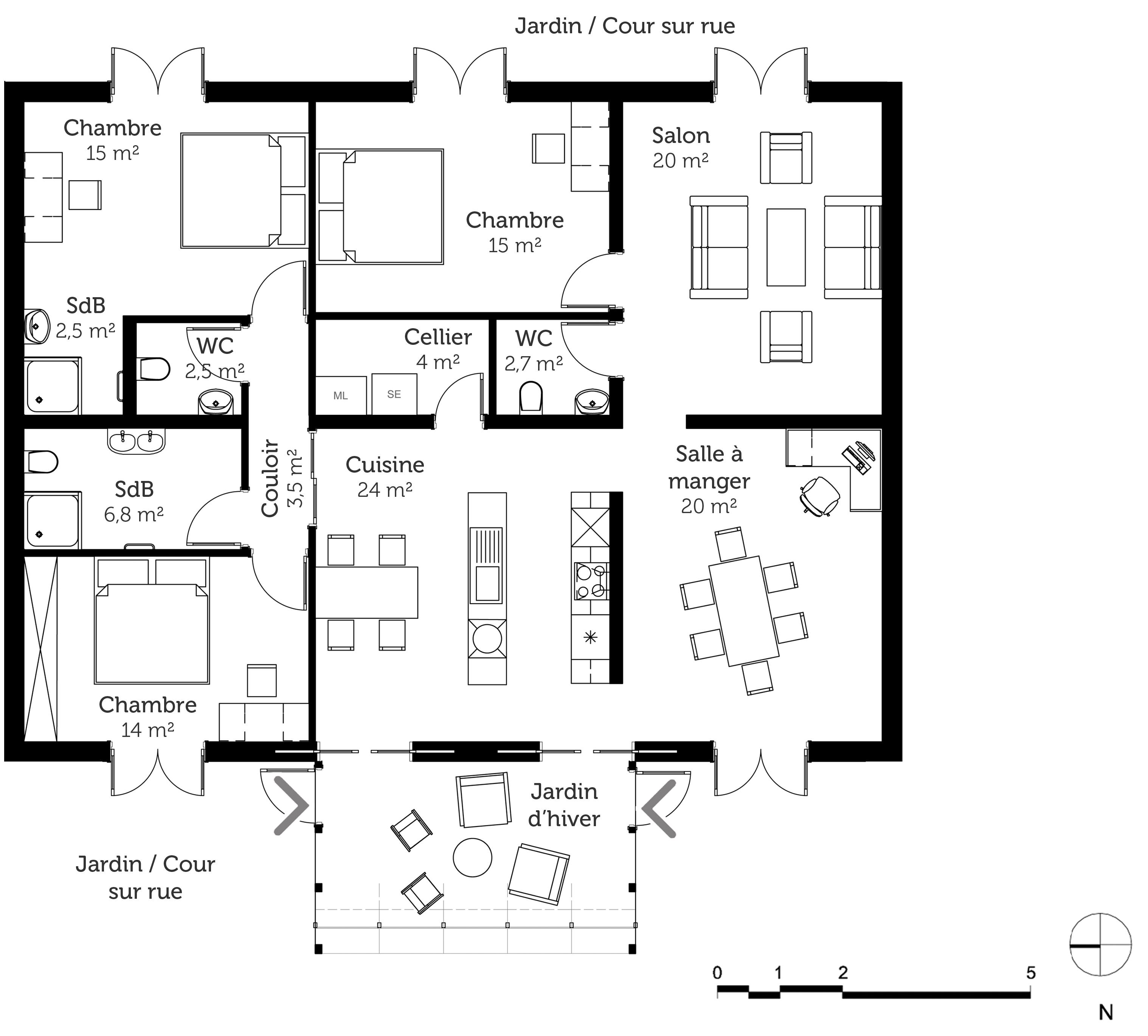 Plan maison avec jardin d 39 hiver ooreka for Plan maison 5 chambres