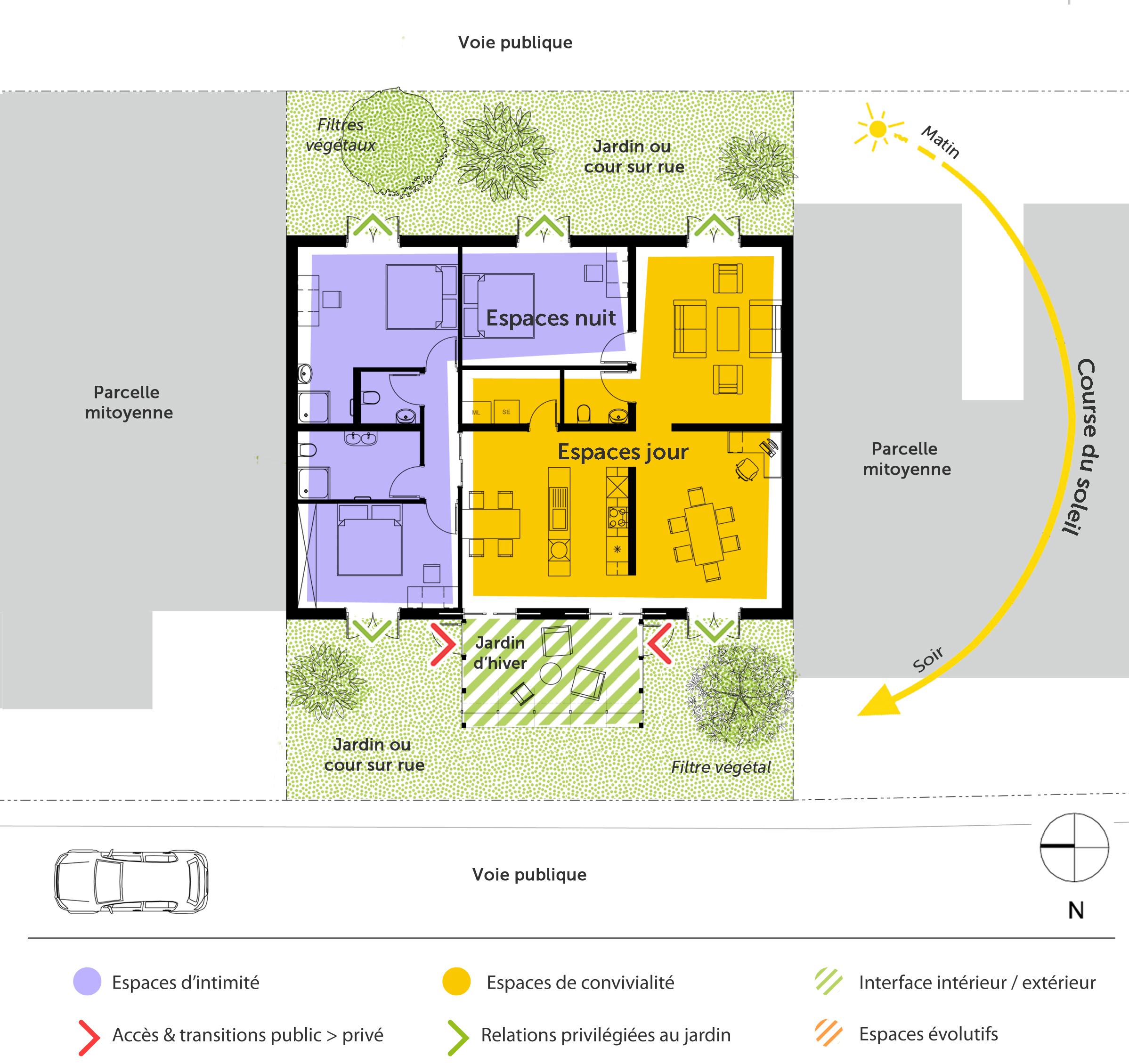 plan maison avec jardin d 39 hiver ooreka. Black Bedroom Furniture Sets. Home Design Ideas