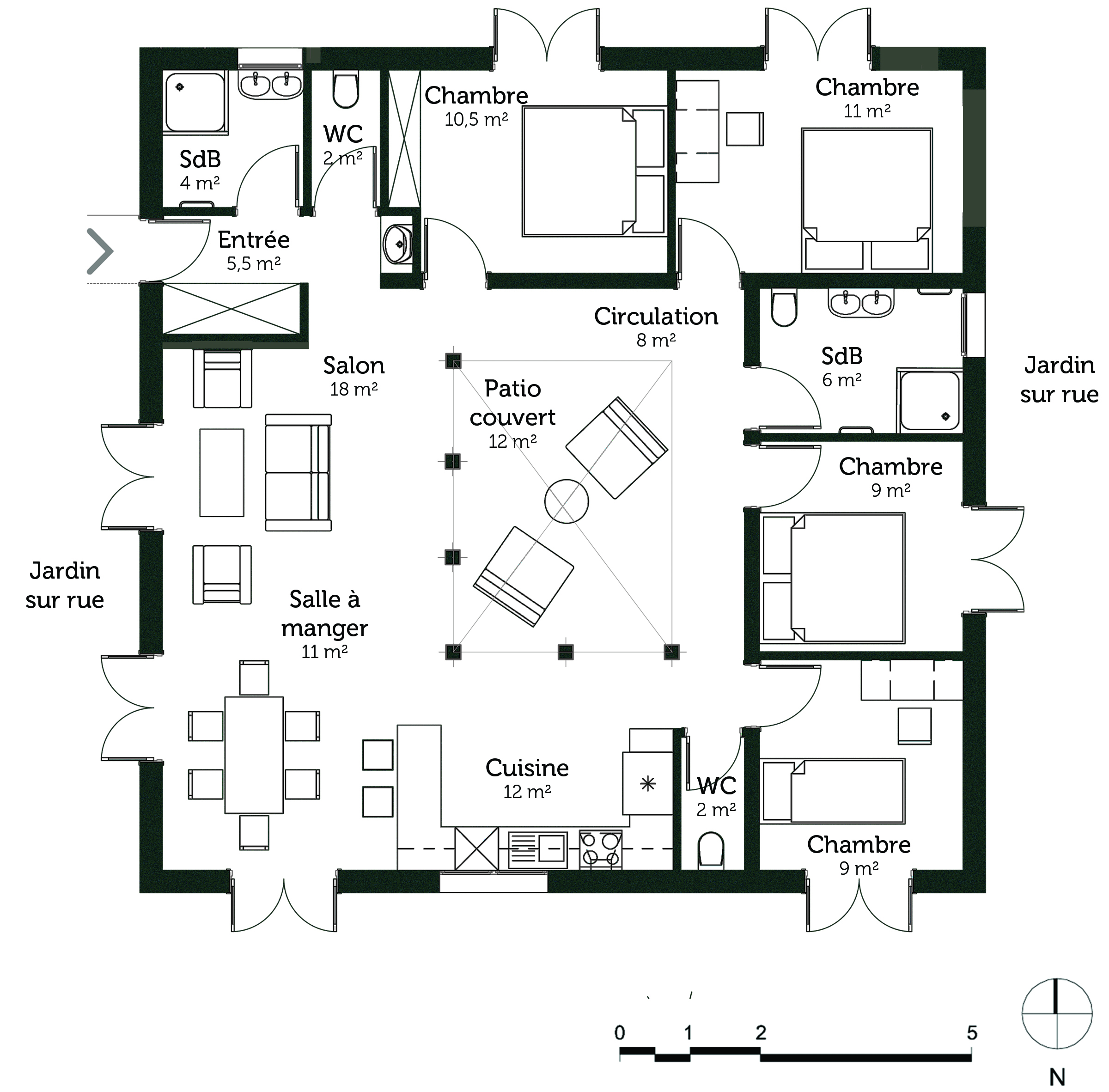 Plan maison carree 4 chambres for Plan maison 1 chambre 1 salon