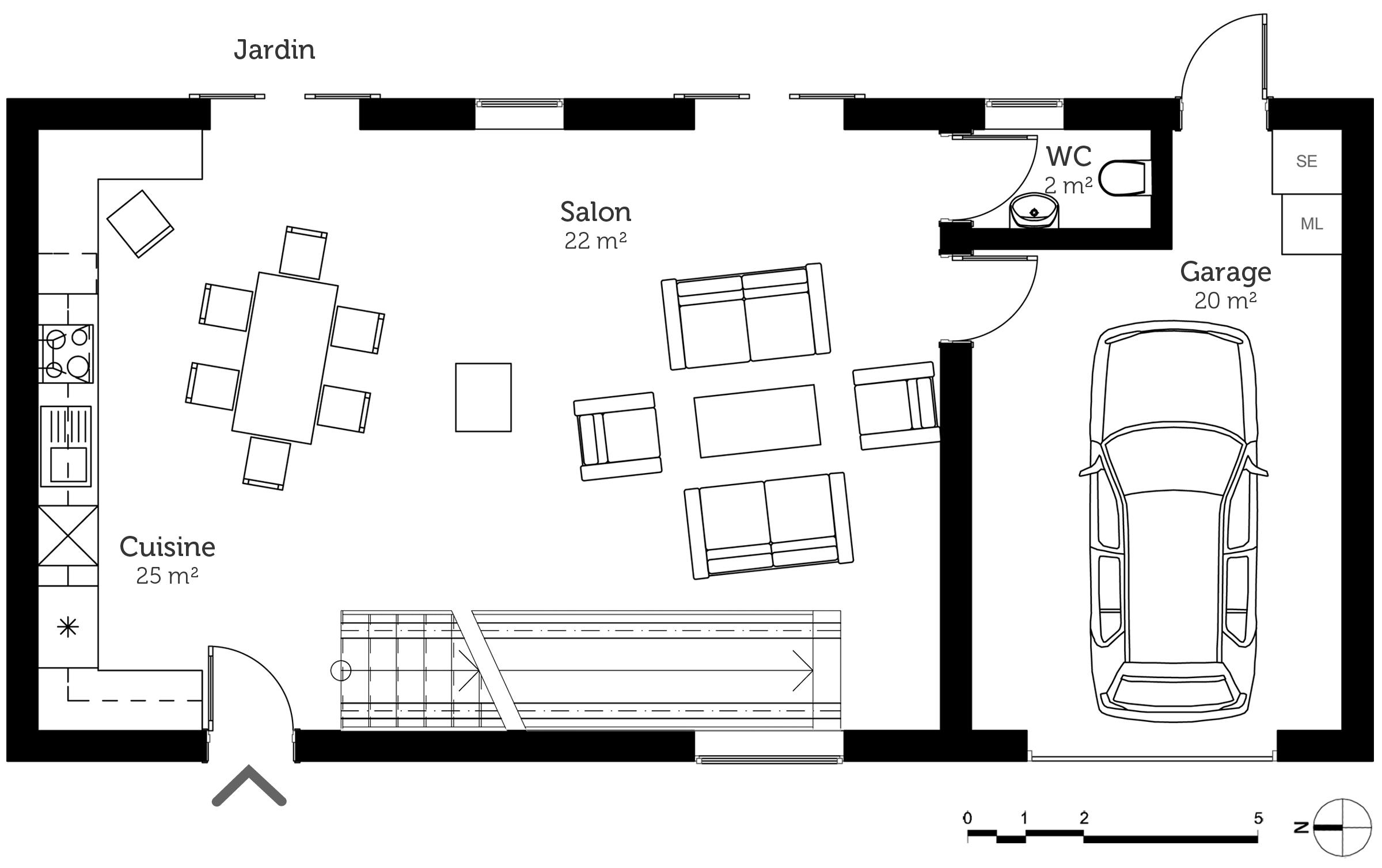 Plan maison tage avec garage ooreka - Plan maison avec garage ...