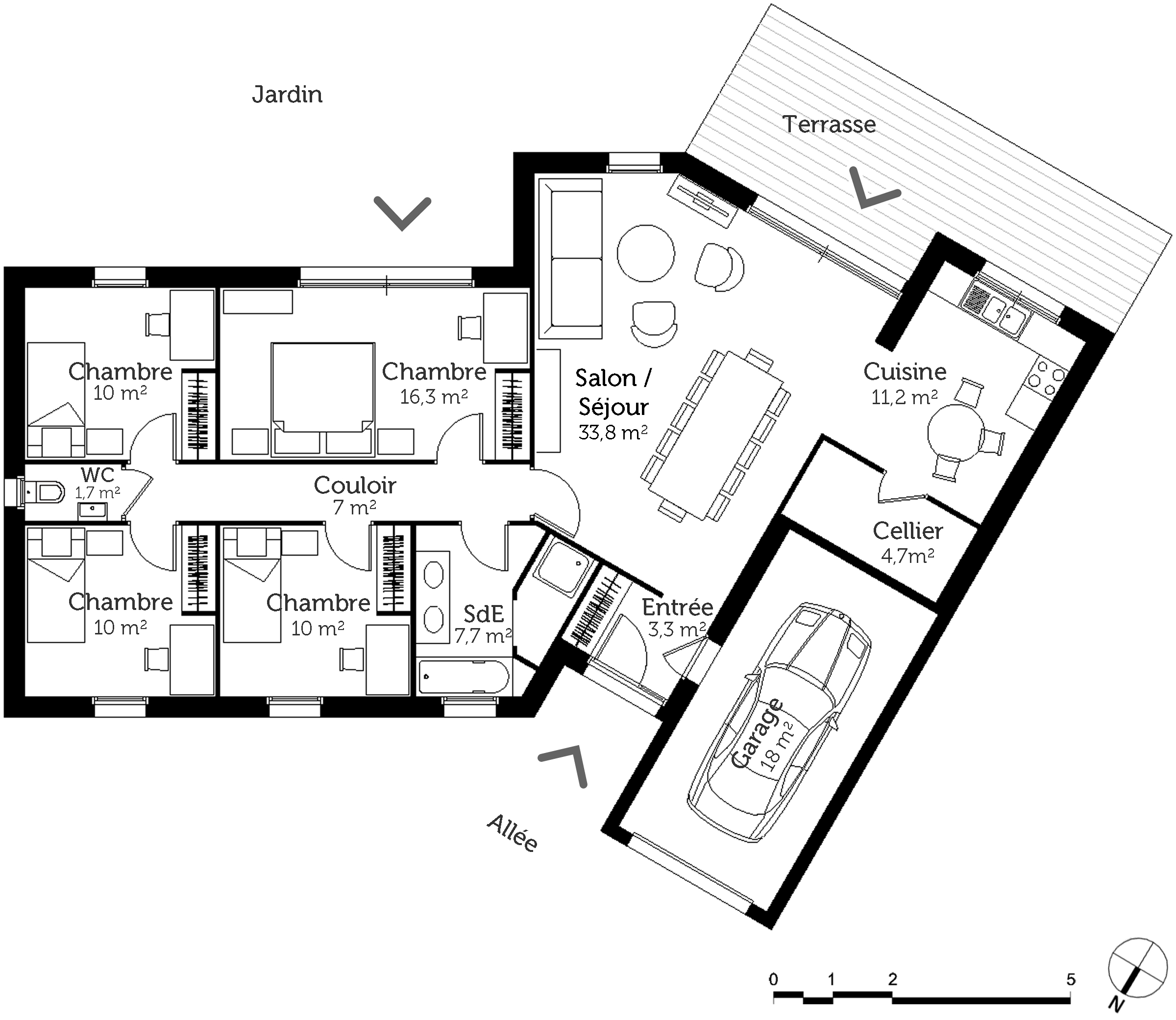 Plan maison v 4 chambres