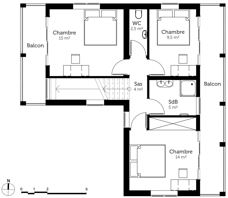Plan maison moderne tage ooreka for Plan maison deux etages