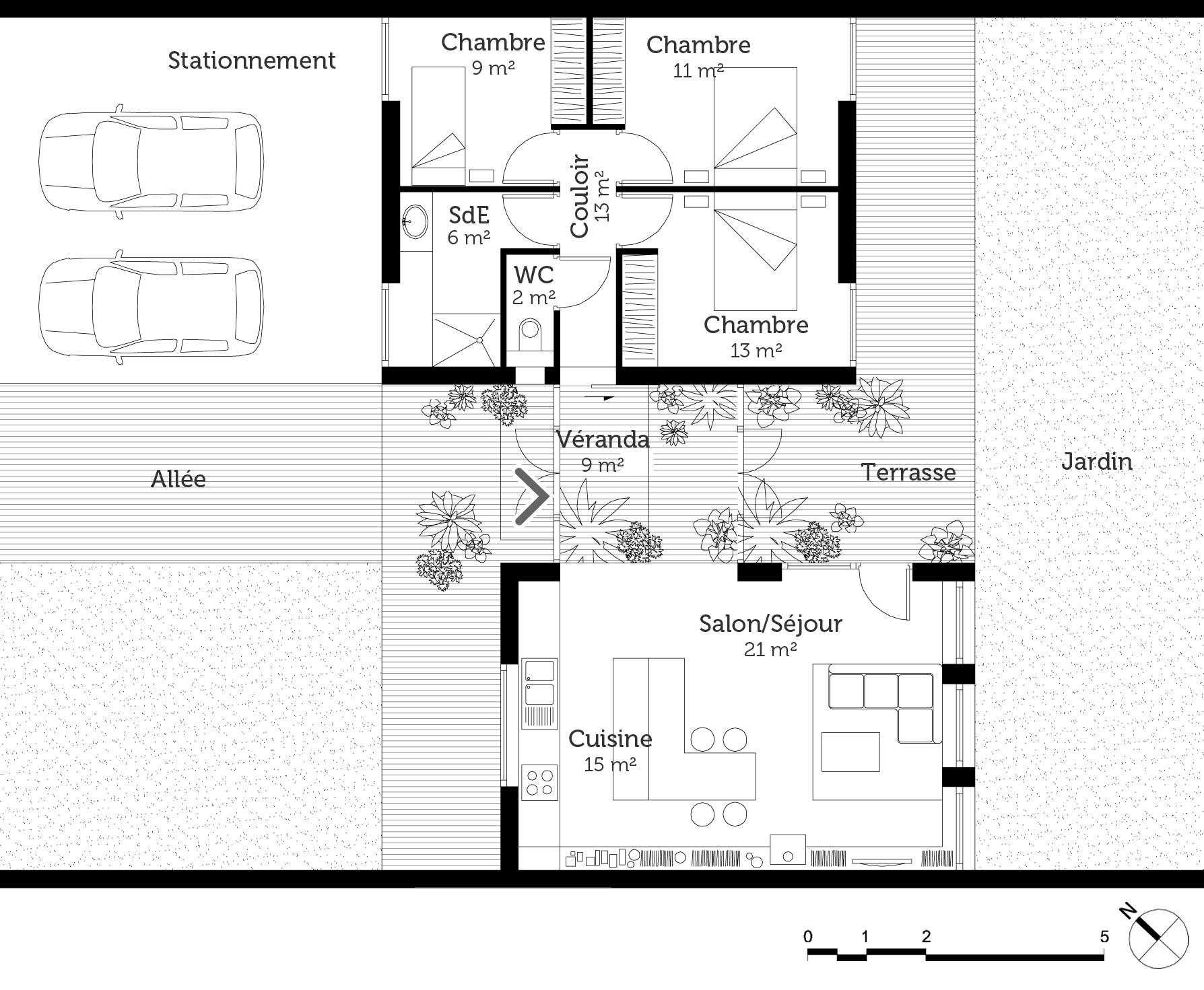Plan maison de plain pied 90 m ooreka for Plan de maison de plain pied moderne