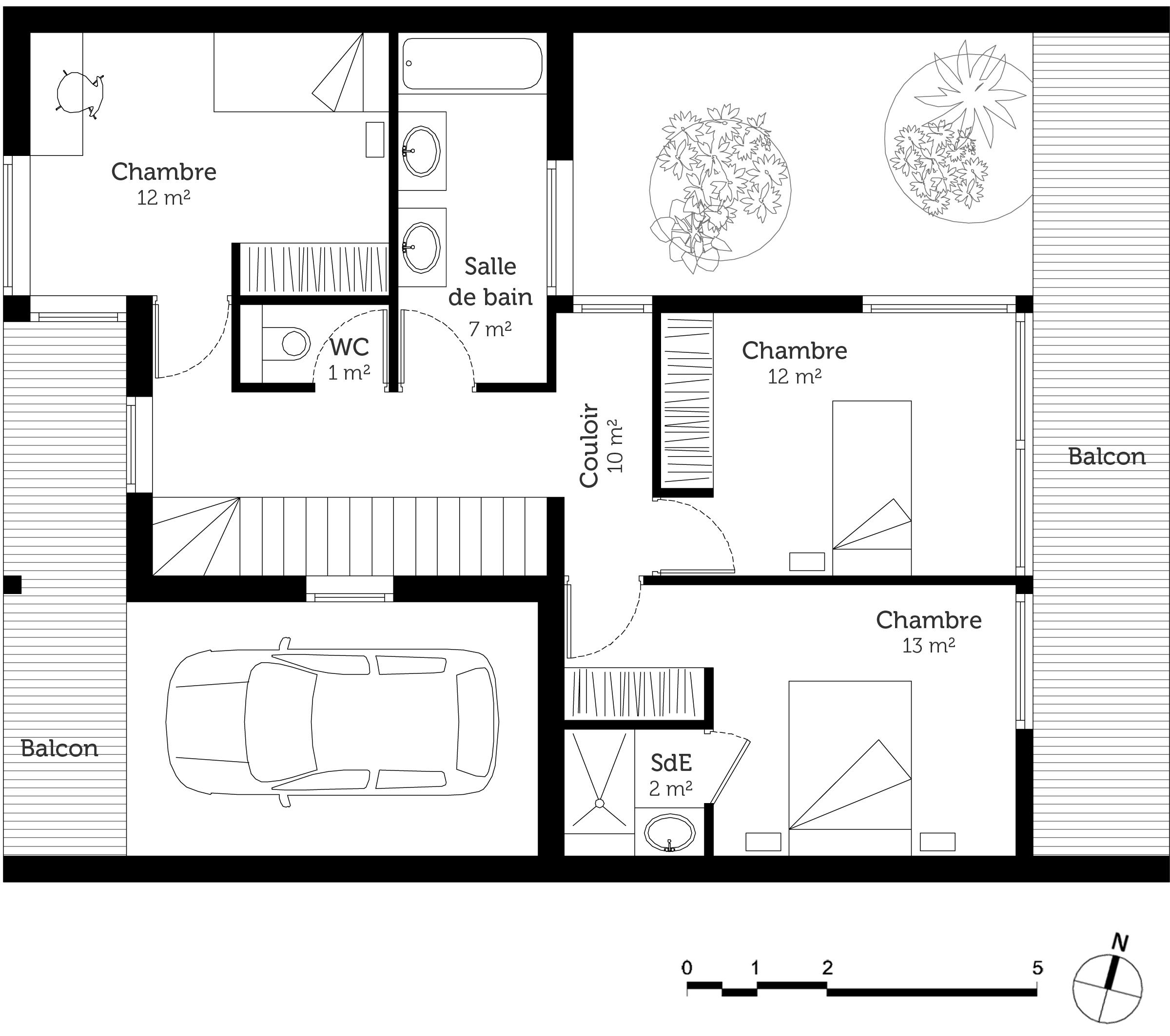 Plan maison moderne ossature en bois ooreka - Plan de maison a etage moderne ...