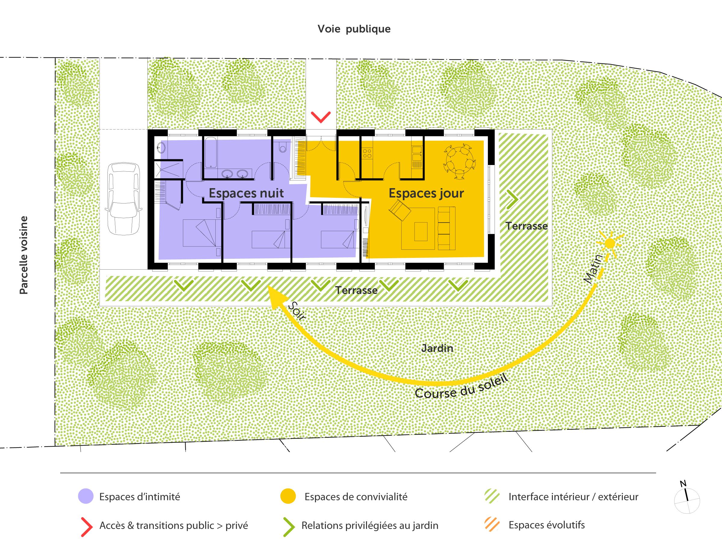 Plan maison de plain pied 110 m avec 3 chambres ooreka for Plan de maison plain pied en l