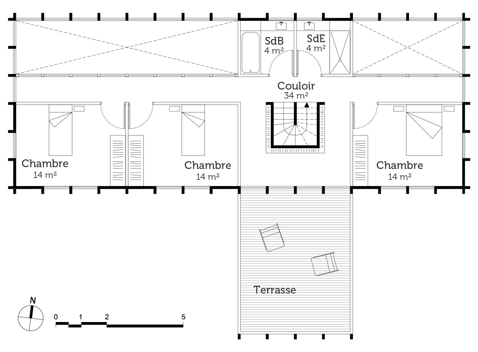 Plan maison avec piscine int rieure ooreka for Maison de reve plan