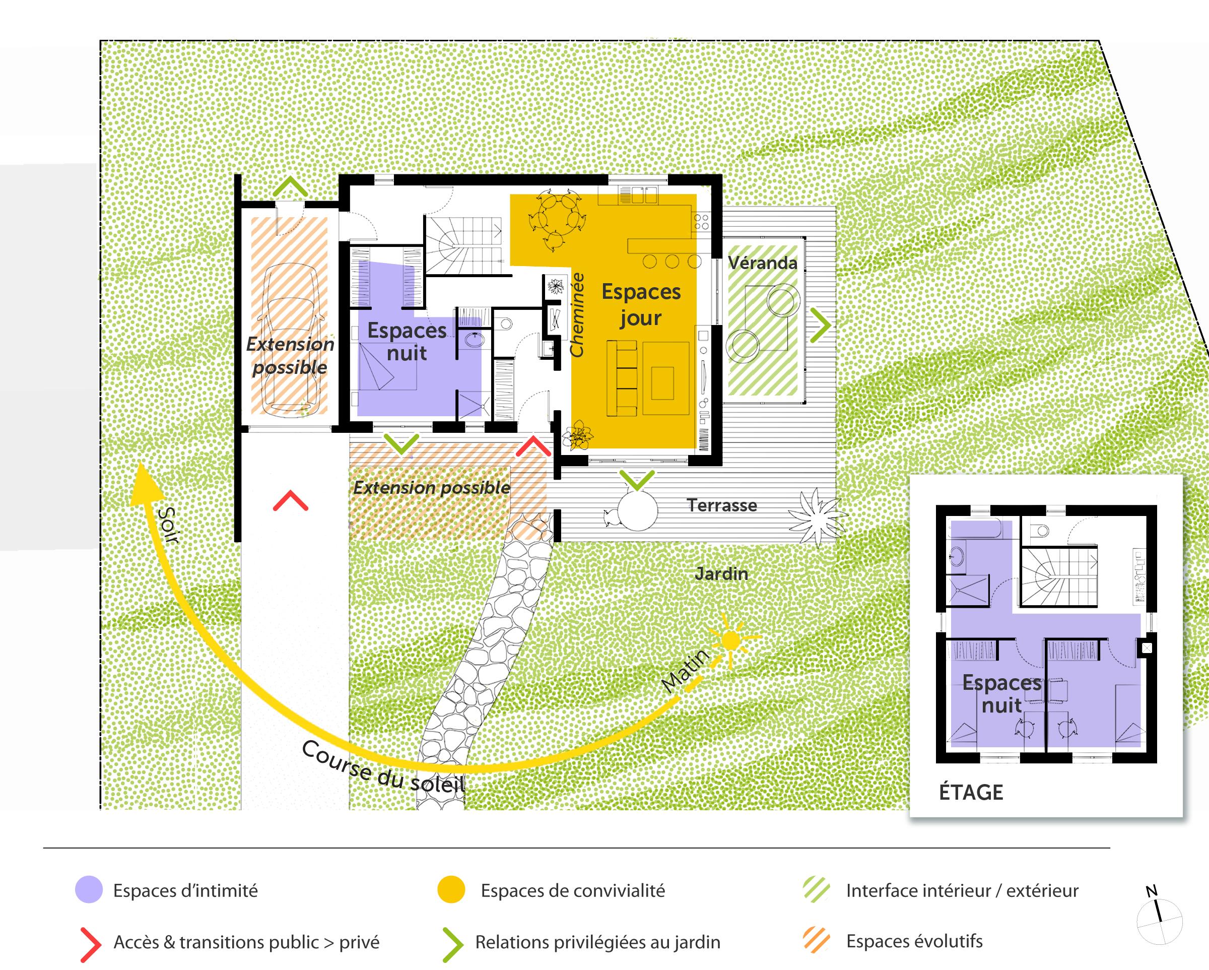 plan maison tage de 110 m avec v randa ooreka. Black Bedroom Furniture Sets. Home Design Ideas