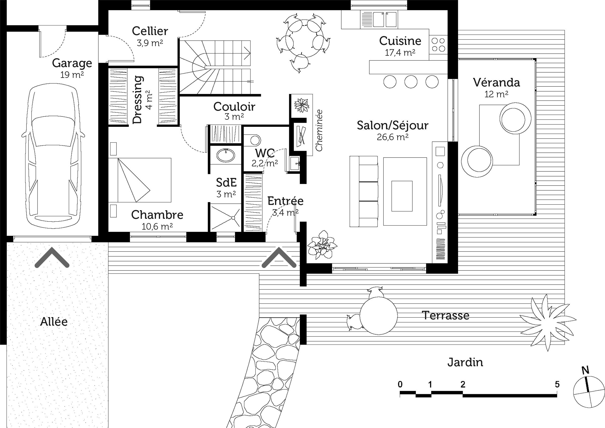 Plan maison tage de 110 m avec v randa ooreka for Photo plan maison