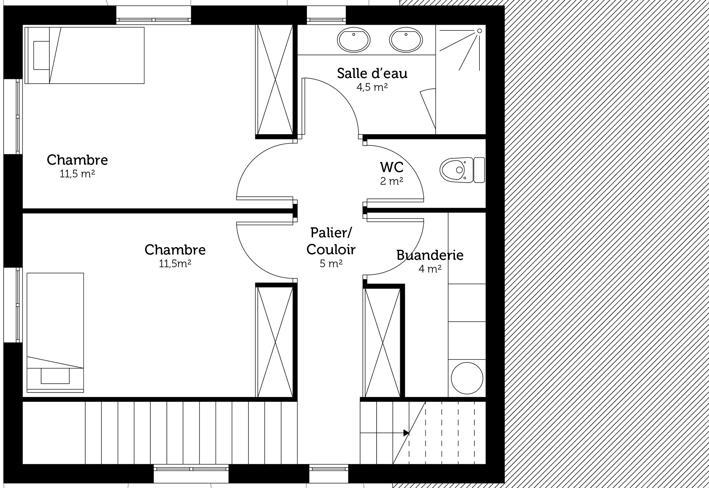 Plan maison tage sur terrain en pente ooreka - Plan maison en pente ...
