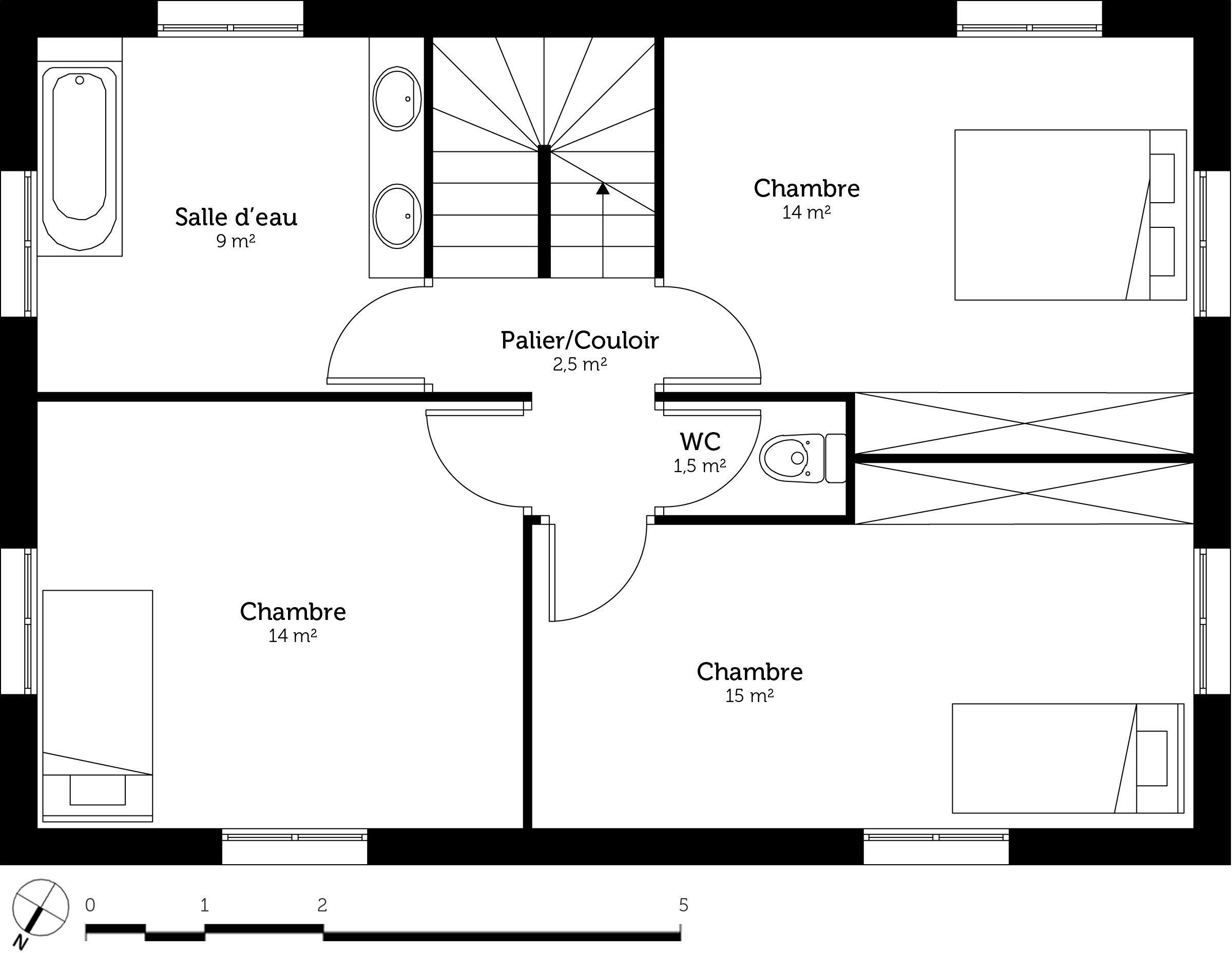 Plan maison tage 110 m ooreka for Plan salle de bains m
