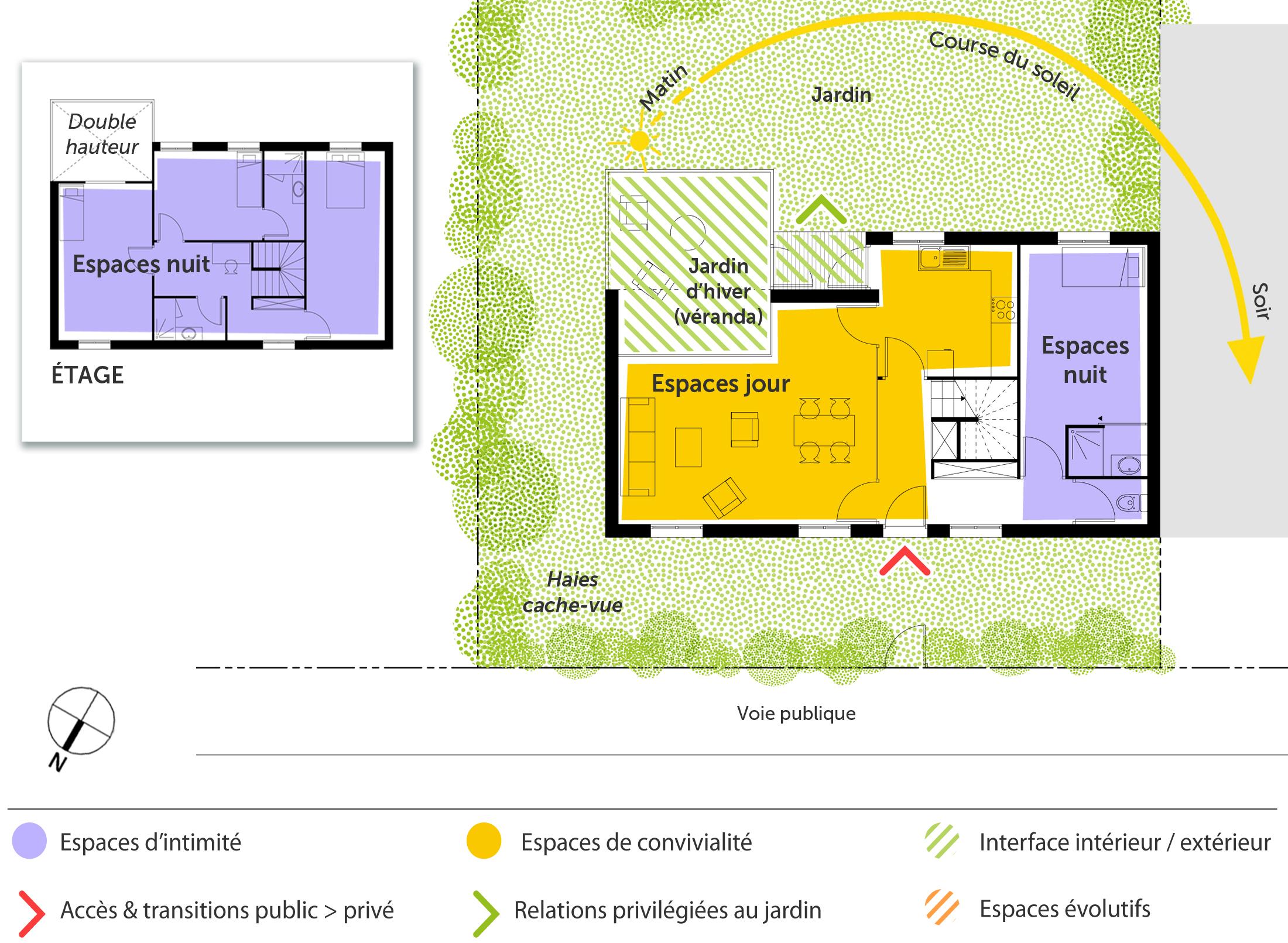 plan maison tage avec v randa ooreka. Black Bedroom Furniture Sets. Home Design Ideas