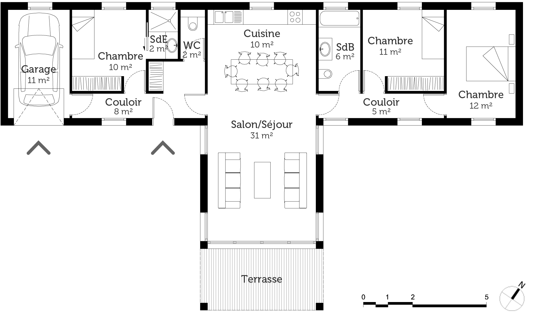 Plan maison moderne en t ooreka for Plan maison contemporaine 3 chambres