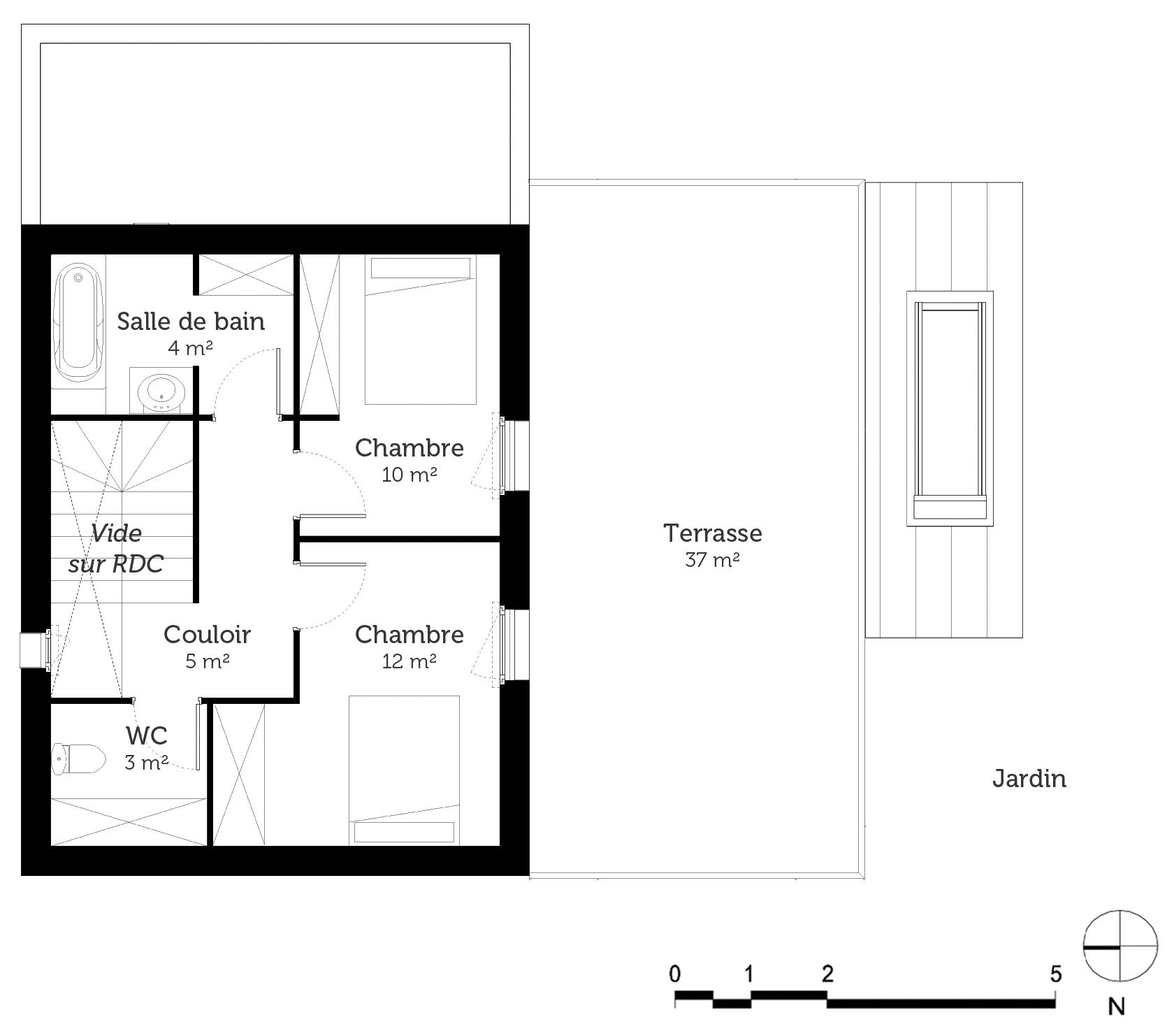 Plan maison 120 m avec 3 chambres ooreka - Plan maison 3 chambres 1 bureau ...