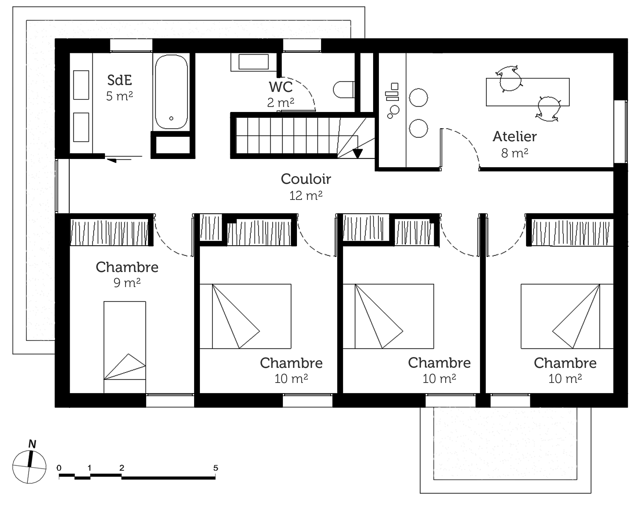 Plan maison tage avec 5 chambres ooreka for Plan maison 3 chambres etage