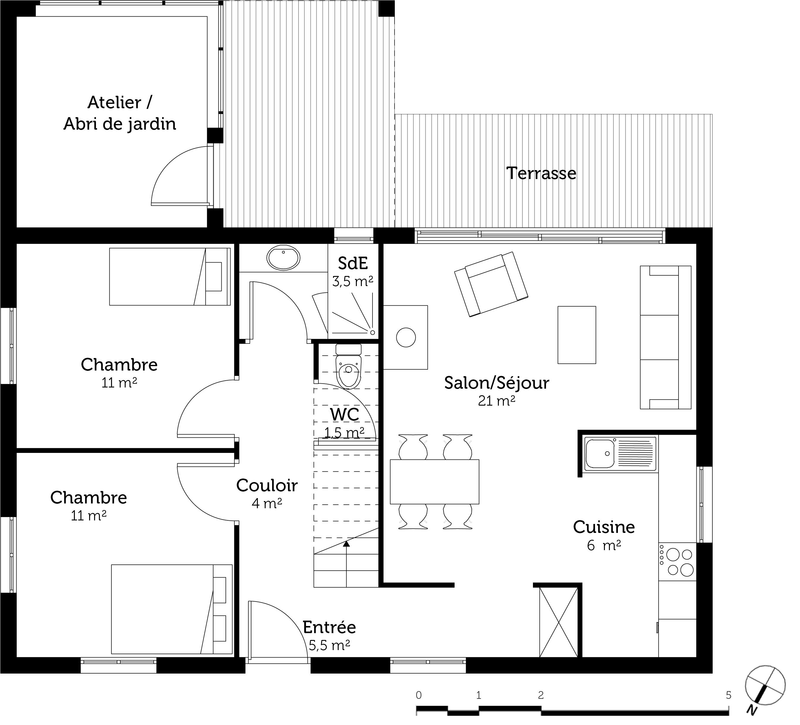 Plan maison 120 m avec 4 chambres ooreka - Programme pour plan de maison ...