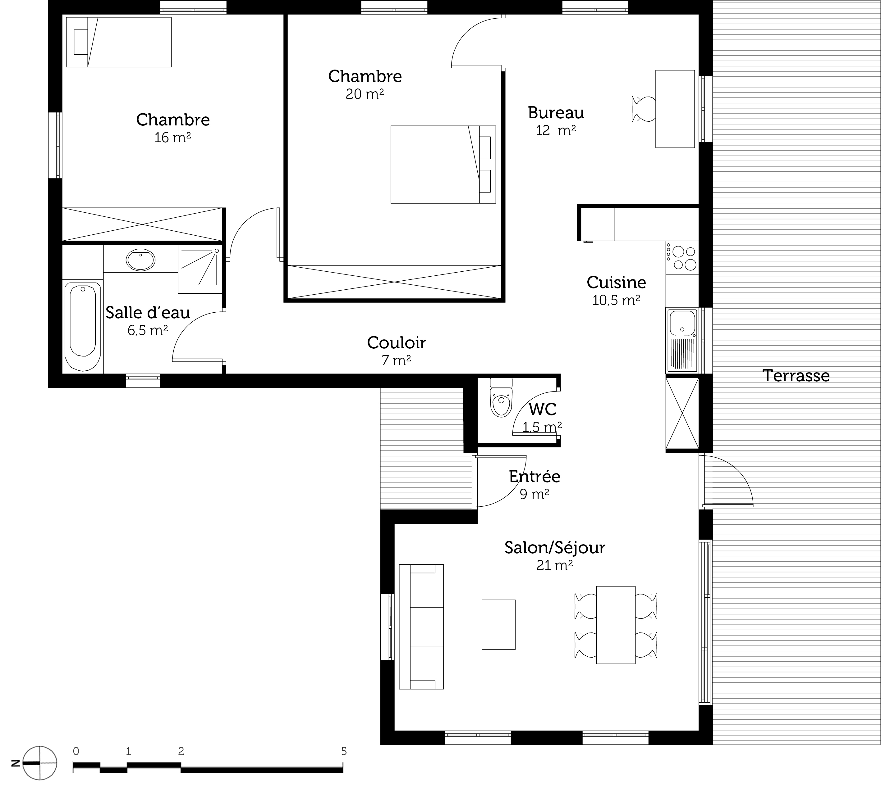 Plan maison plain pied en l ooreka for Plan maison en l plain pied