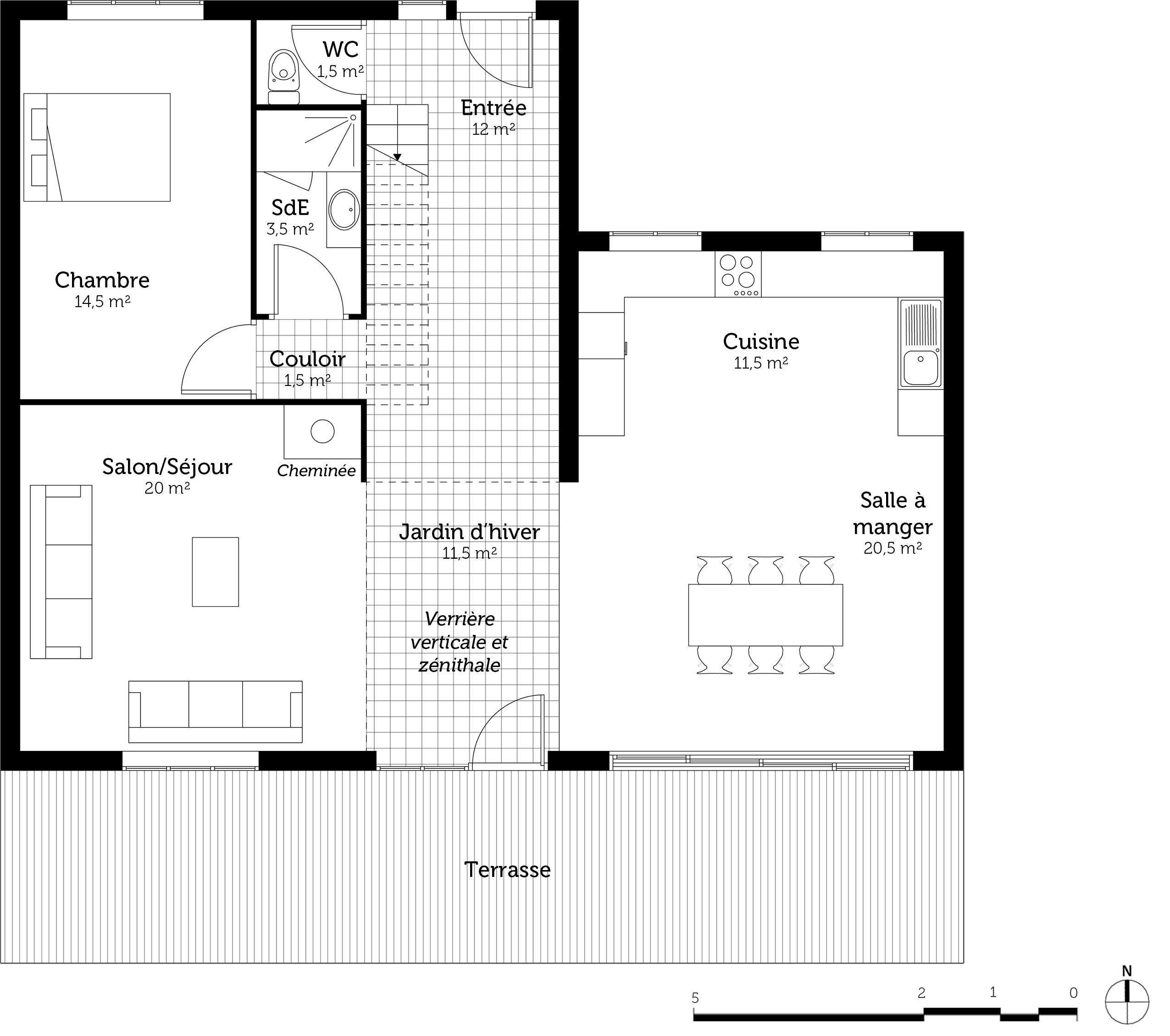 plan maison contemporaine avec 5 chambres ooreka. Black Bedroom Furniture Sets. Home Design Ideas