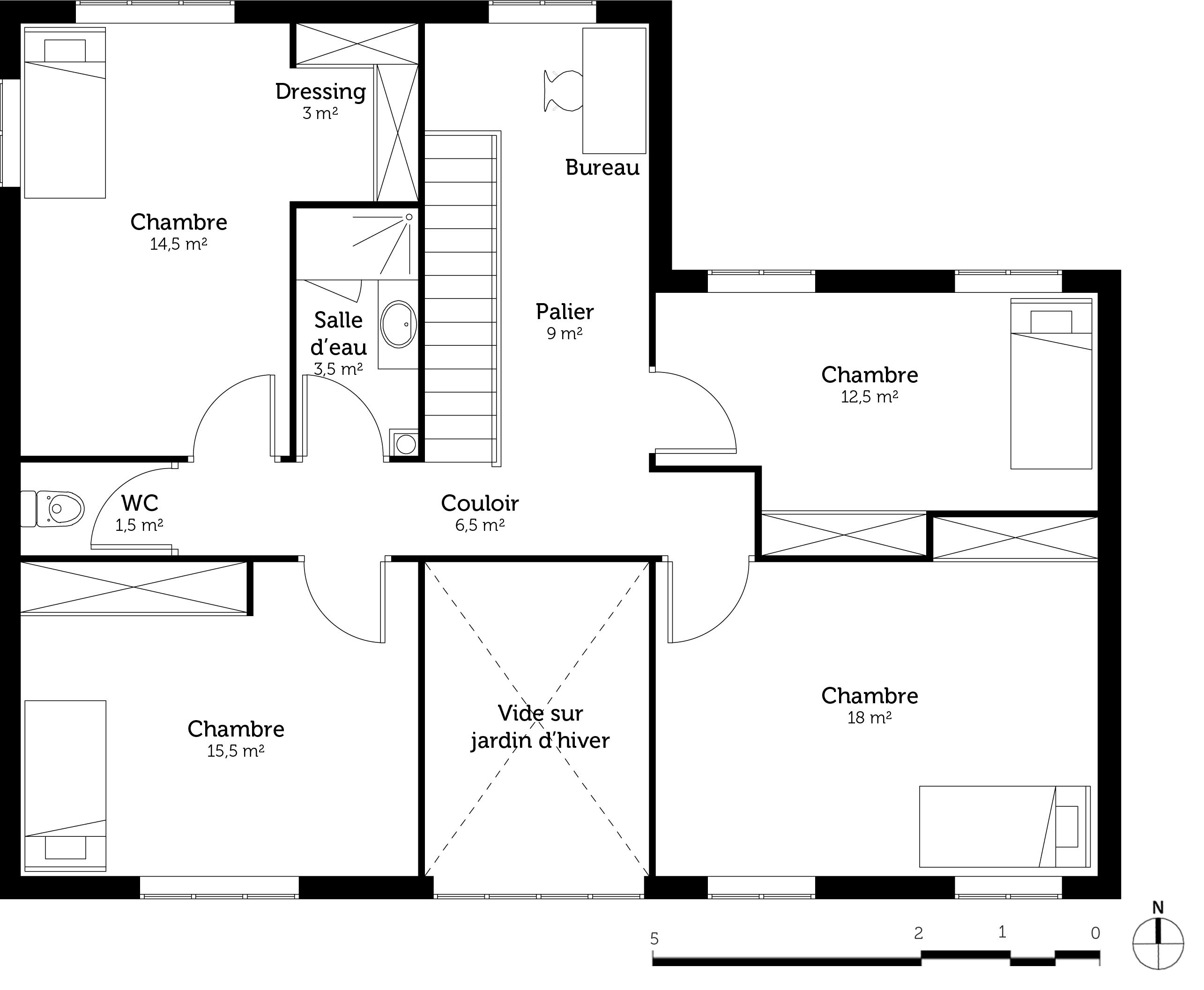 Plan maison contemporaine avec 5 chambres ooreka for Plan maison contemporaine 3 chambres