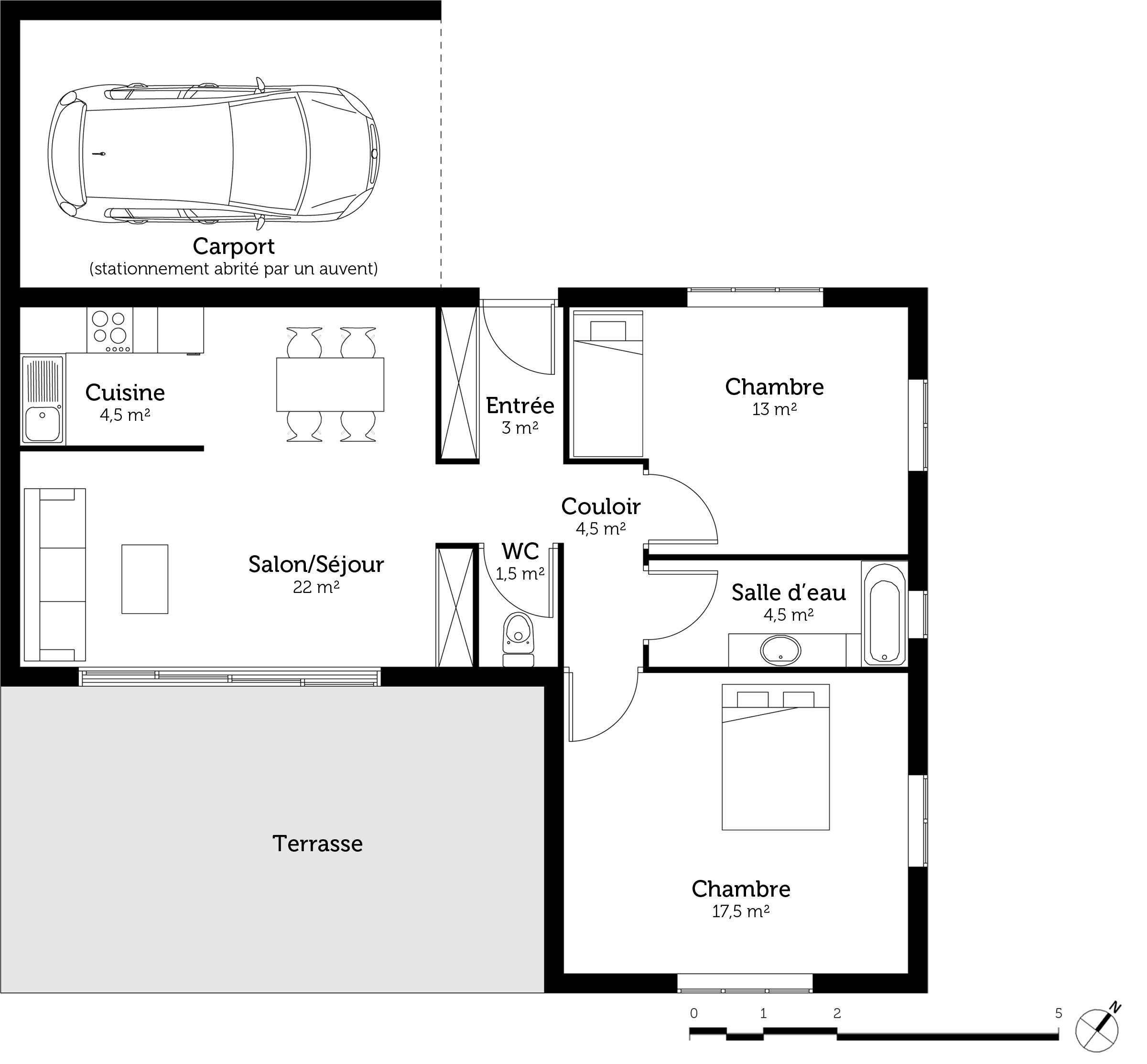 Plan maison en l avec abri de voiture ooreka - Plan abri voiture ...