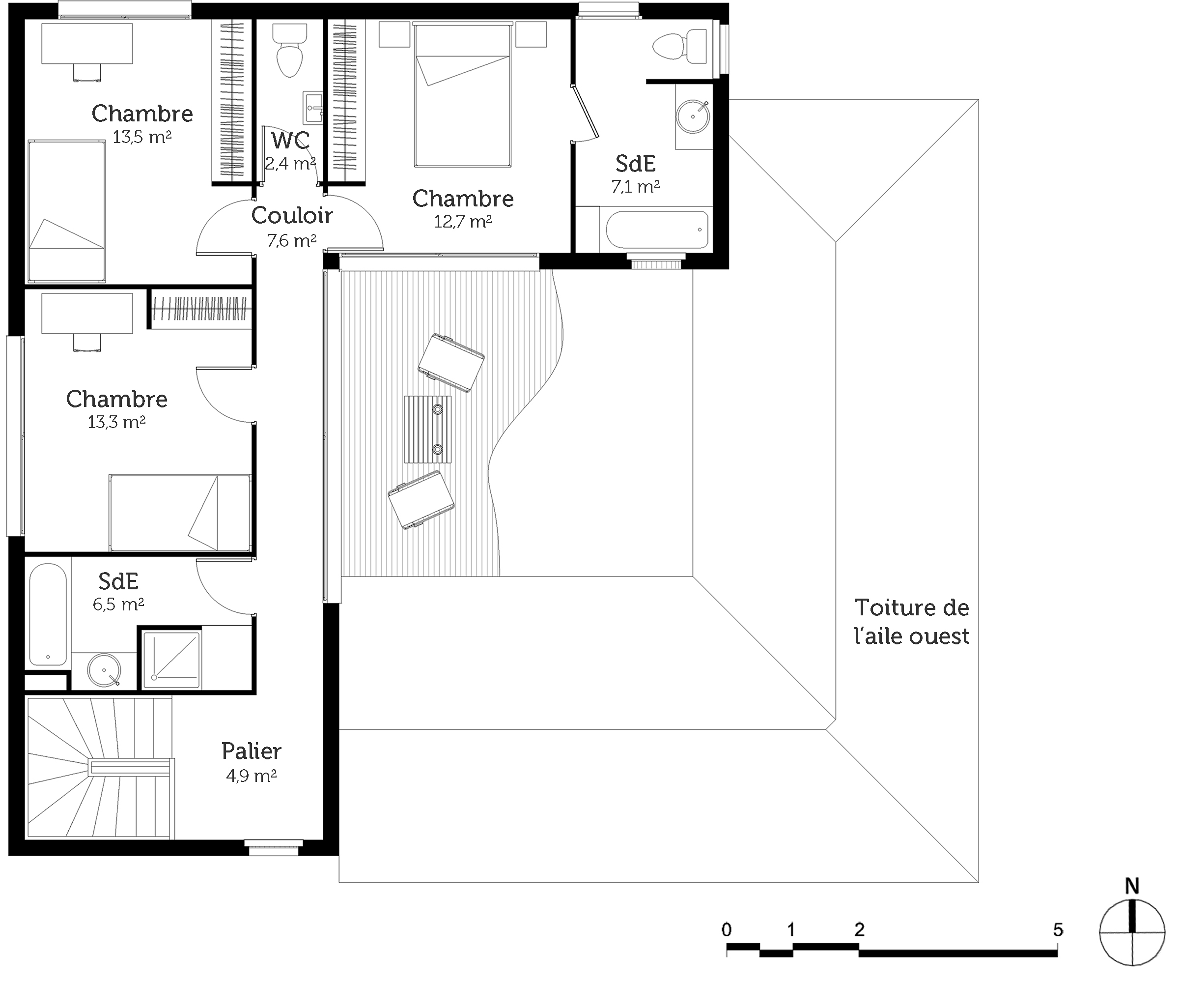 Plan maison tage avec patio ooreka for Plan interieur maison en l