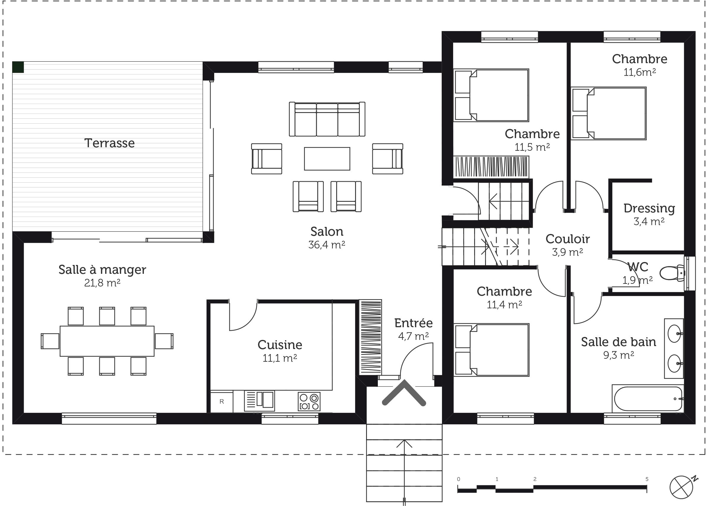 plan maison tage avec sous sol ooreka. Black Bedroom Furniture Sets. Home Design Ideas