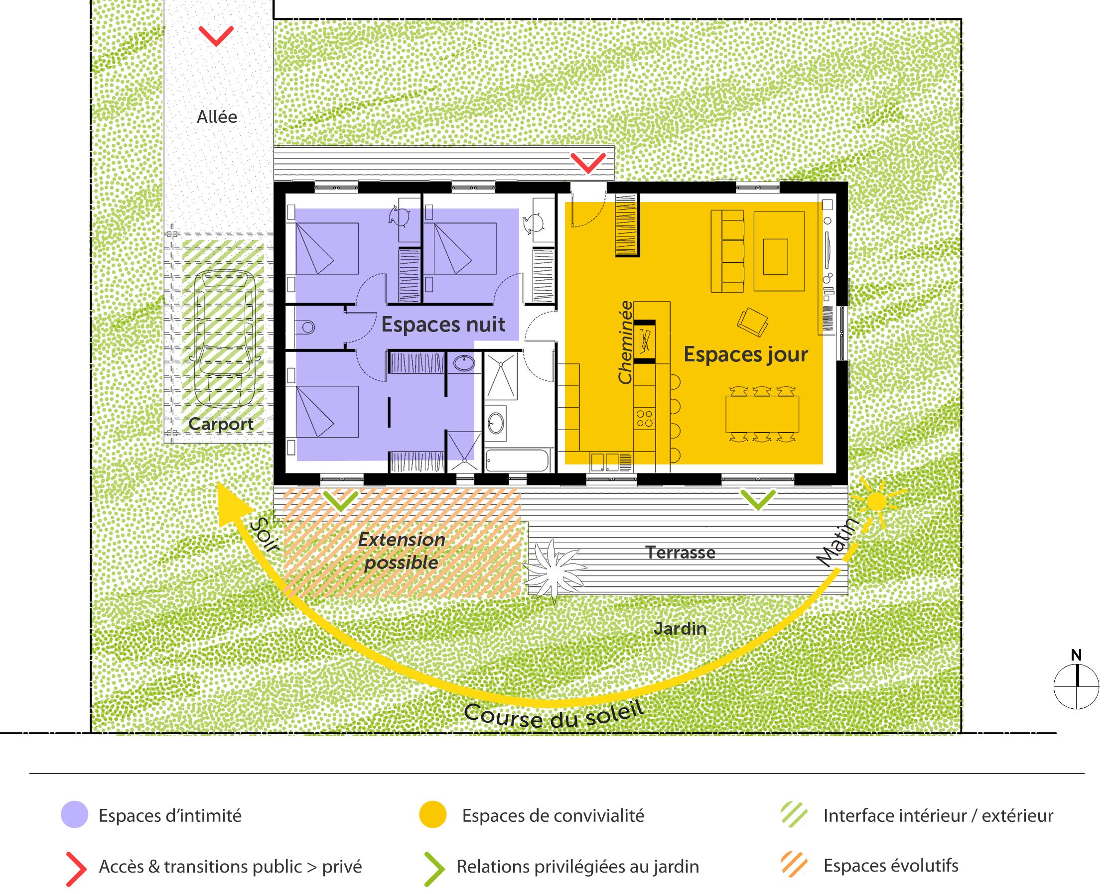 Plan maison 100 m avec 3 chambres ooreka for Plan maison avec combles
