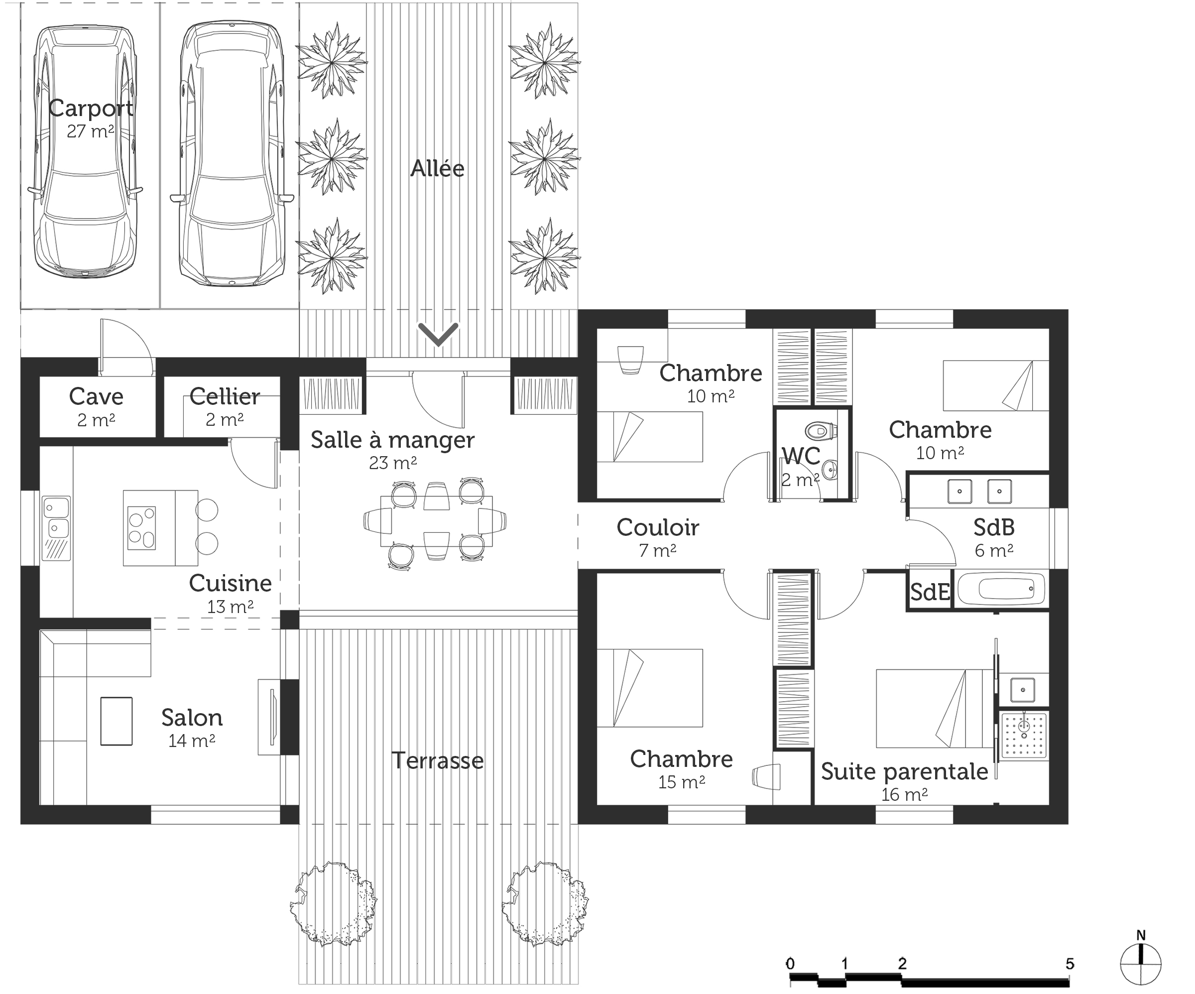Plan maison 120 m avec suite parentale ooreka for Plan maison plain pied suite parentale