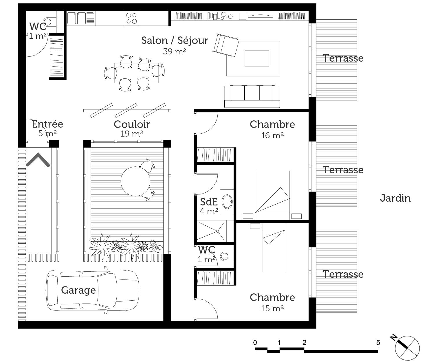 plan maison mitoyenne de plain pied ooreka. Black Bedroom Furniture Sets. Home Design Ideas