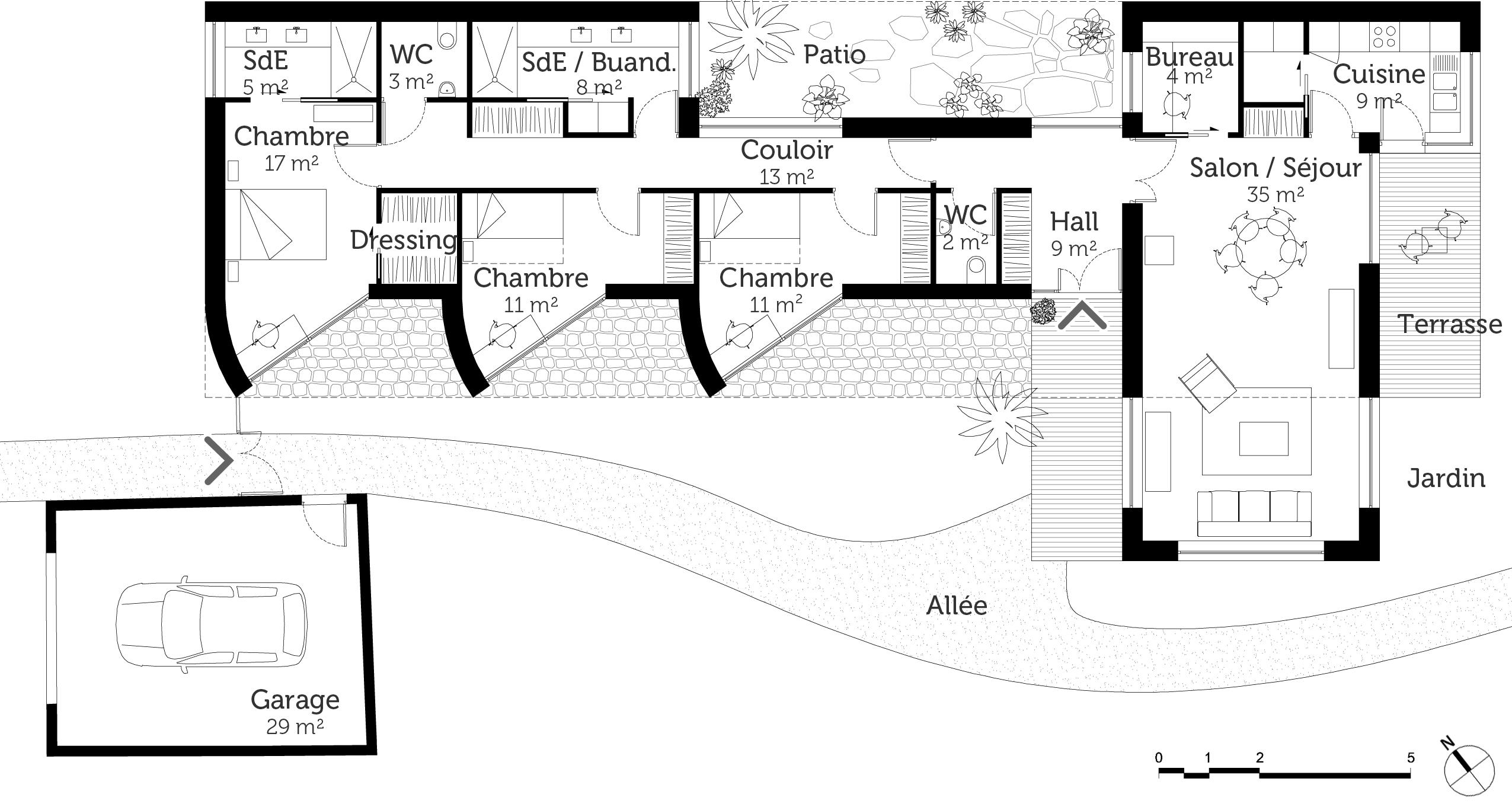 plan maison plain pied d\'architecte