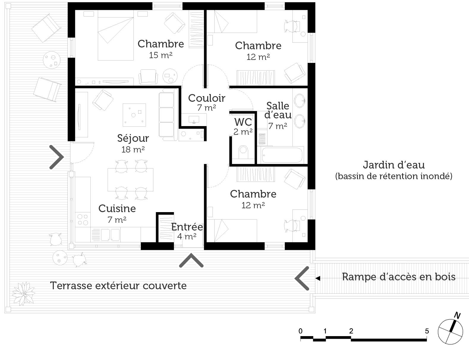 plan maison en bois sur pilotis. Black Bedroom Furniture Sets. Home Design Ideas