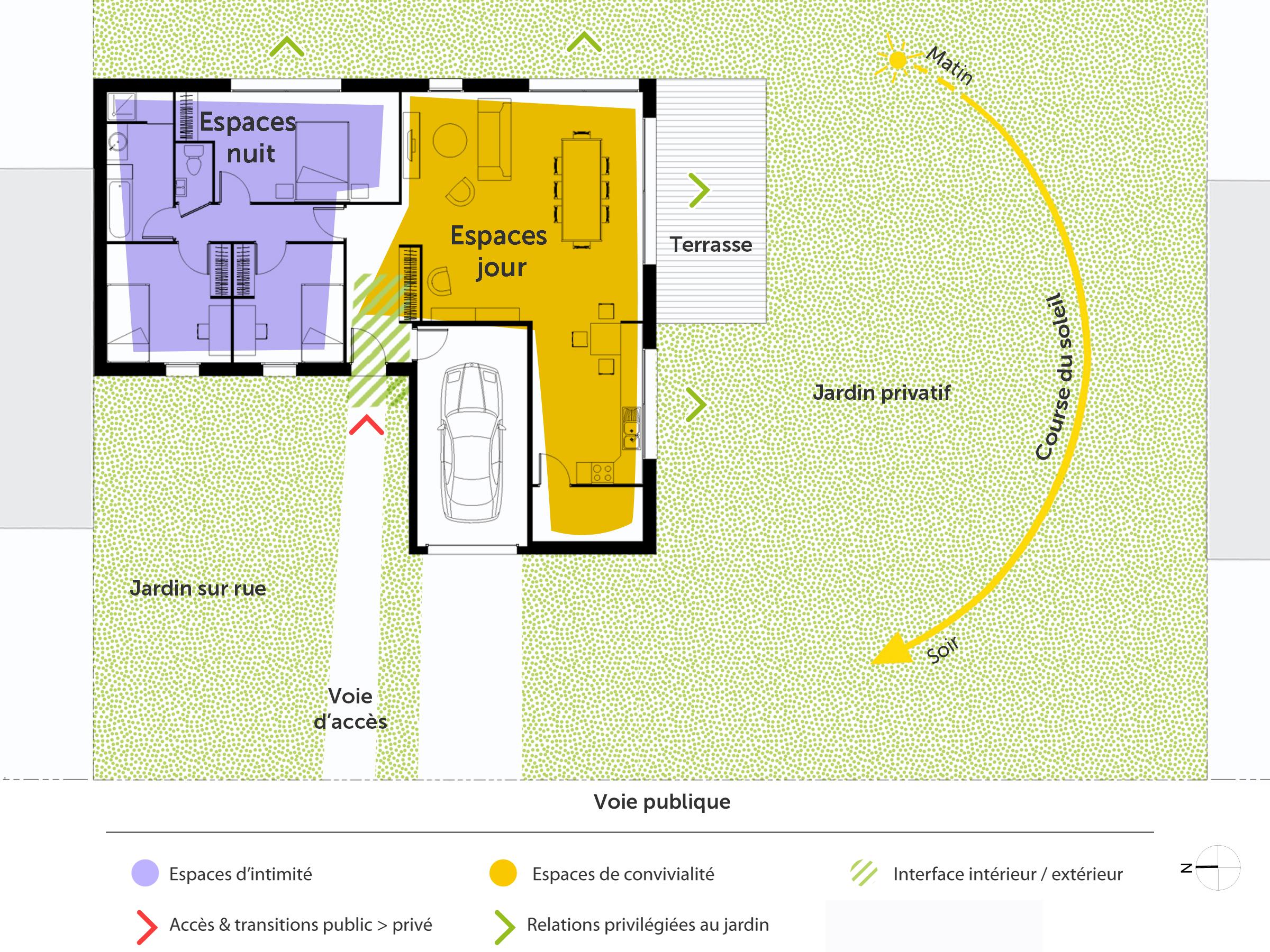 plan maison en l avec 3 chambres ooreka. Black Bedroom Furniture Sets. Home Design Ideas