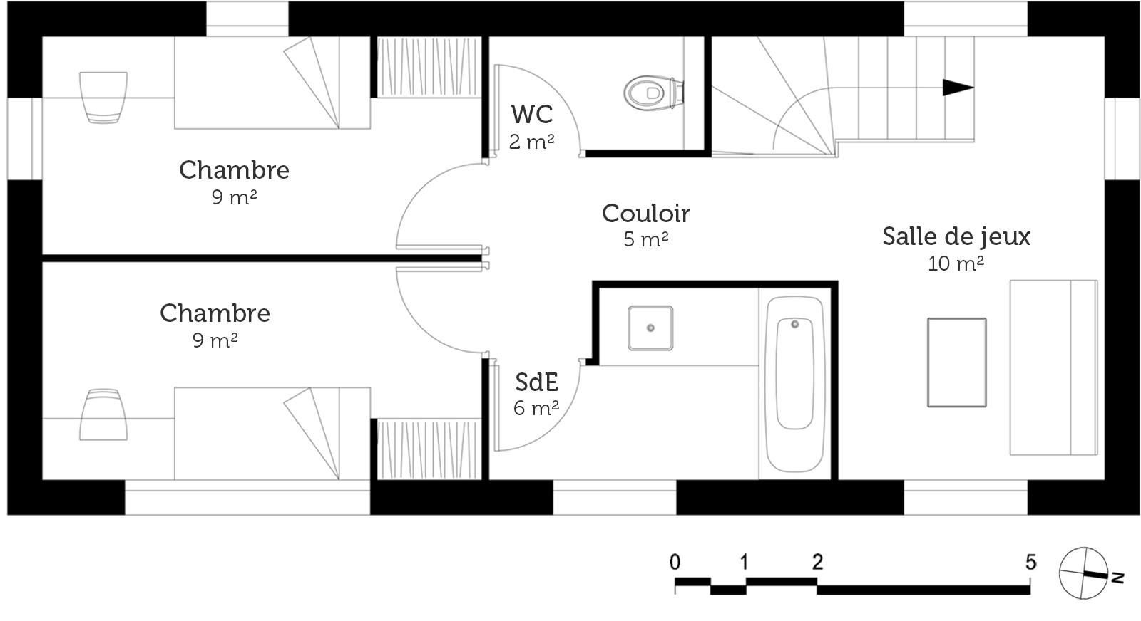 Plan maison moderne en u ooreka for Simulation plan de maison