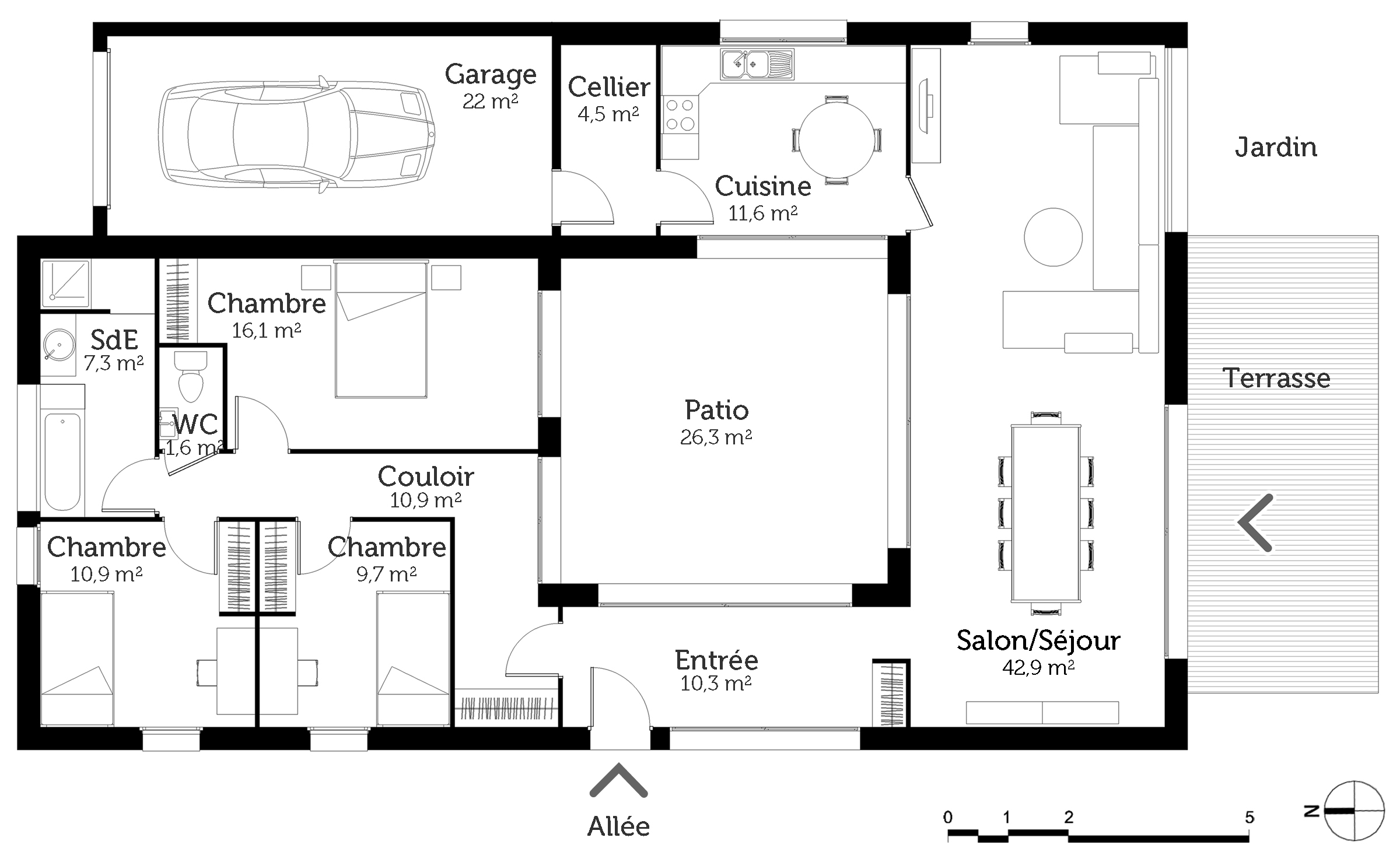 plan de maison 4 chambres avec patio. Black Bedroom Furniture Sets. Home Design Ideas