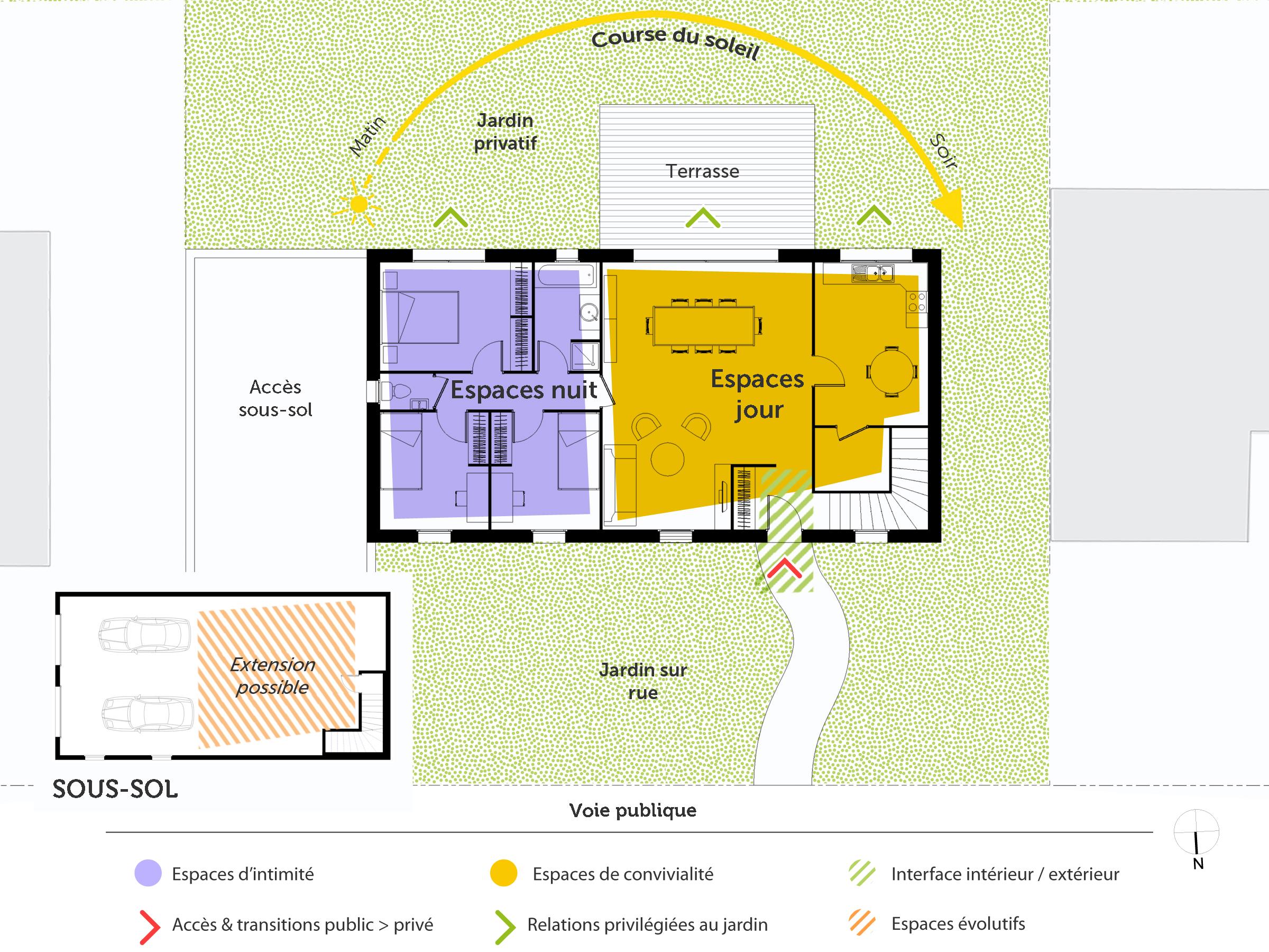 Plan maison de plain pied avec sous sol ooreka for Maison sur plan